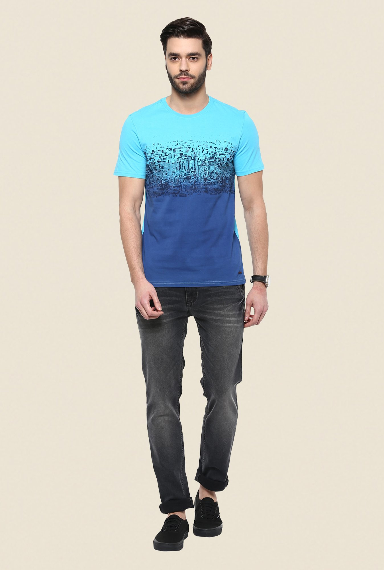 Turtle Blue Graphic Print T Shirt