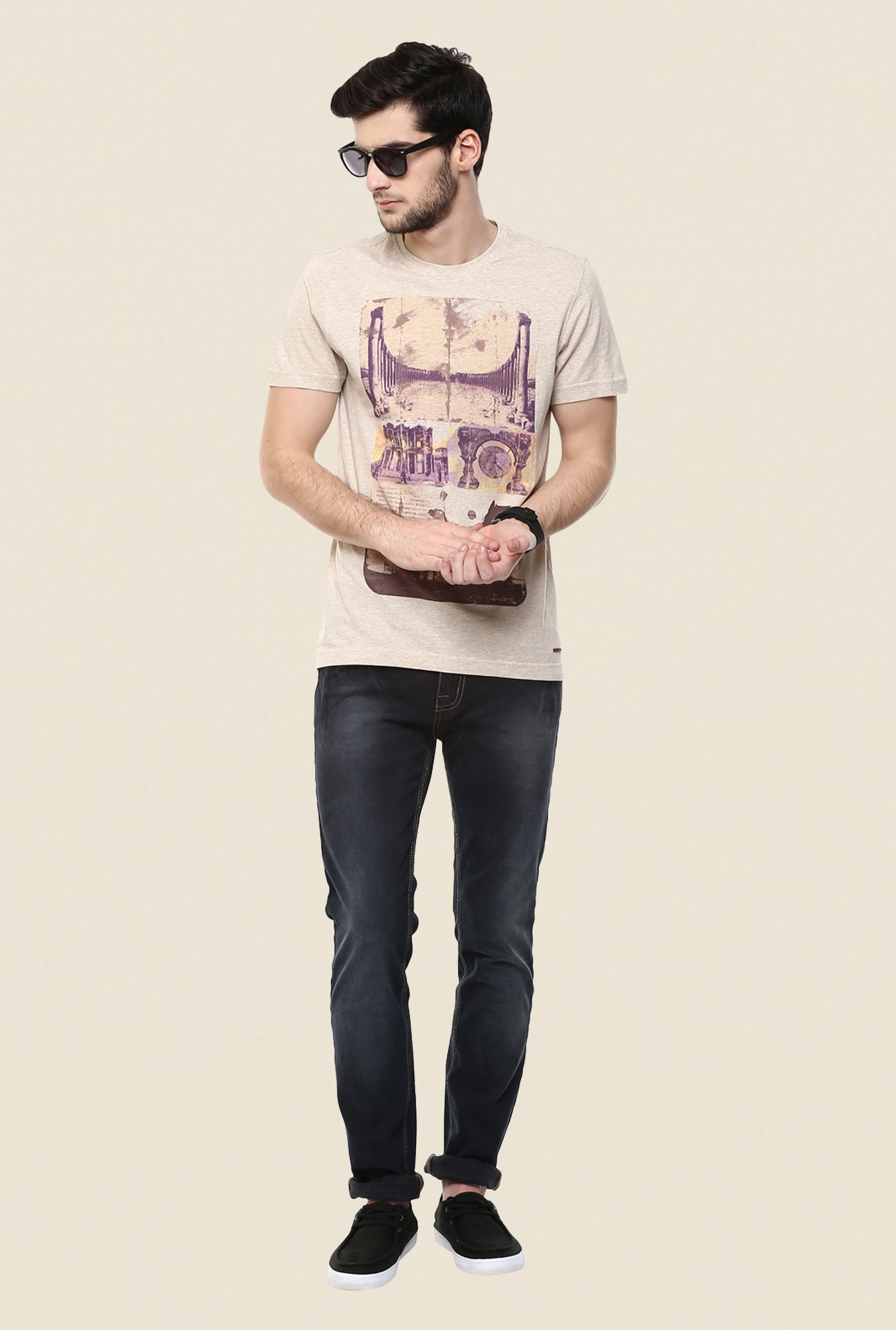 Turtle Beige Graphic Print T Shirt
