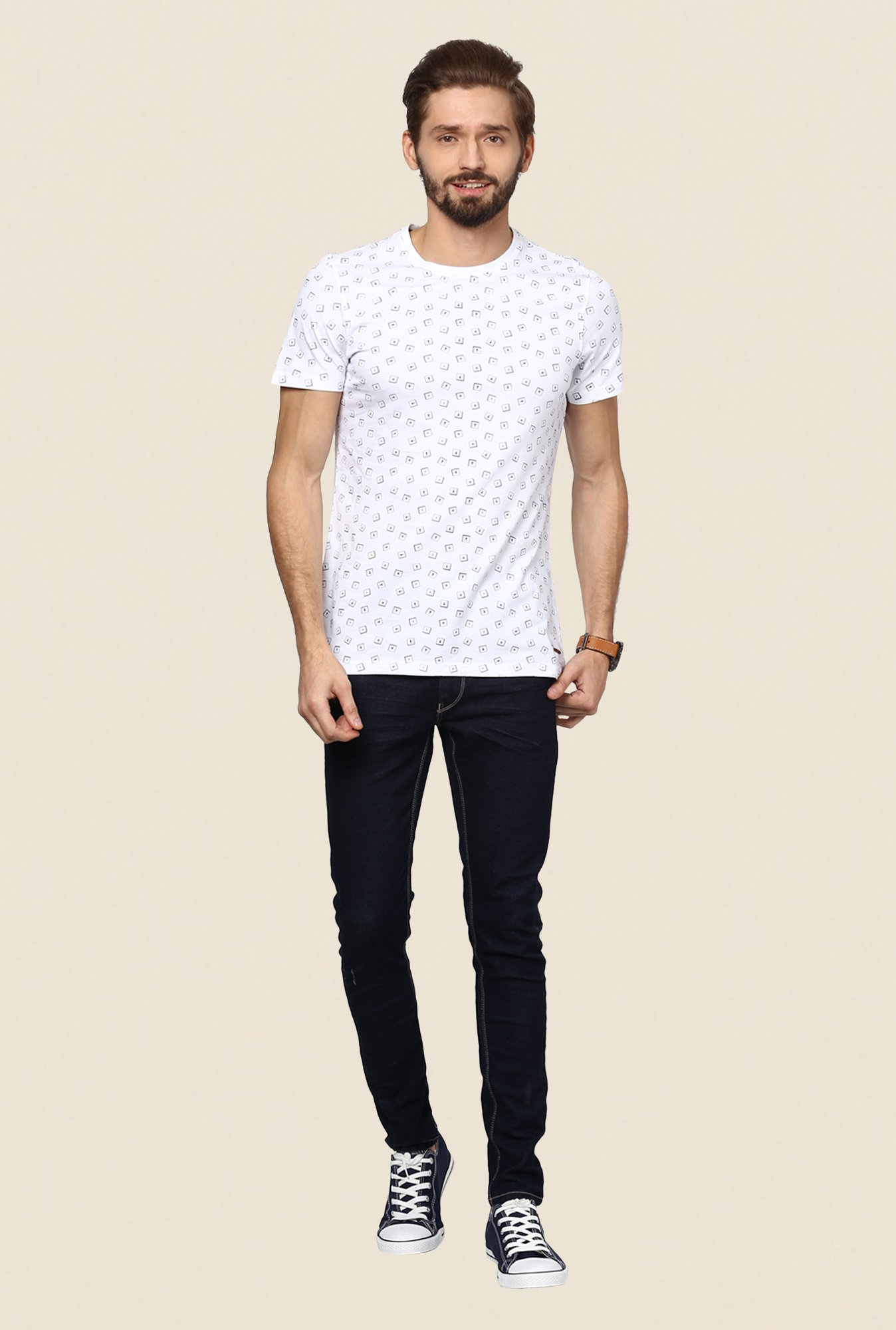 Turtle White Printed T Shirt
