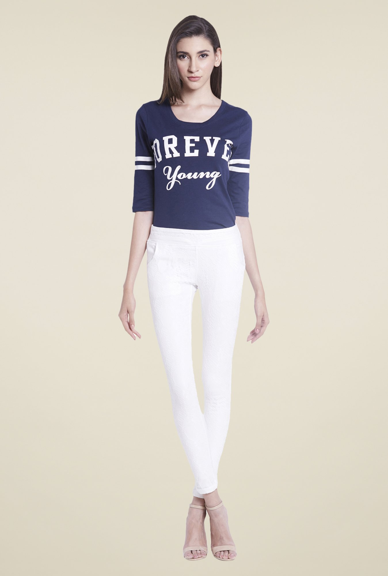 Globus White Solid Jeggings