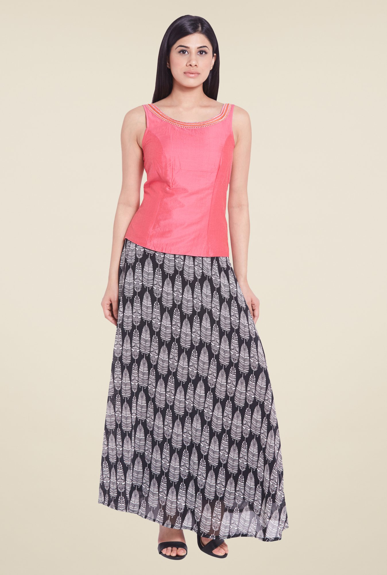Globus Black Printed Maxi Skirt