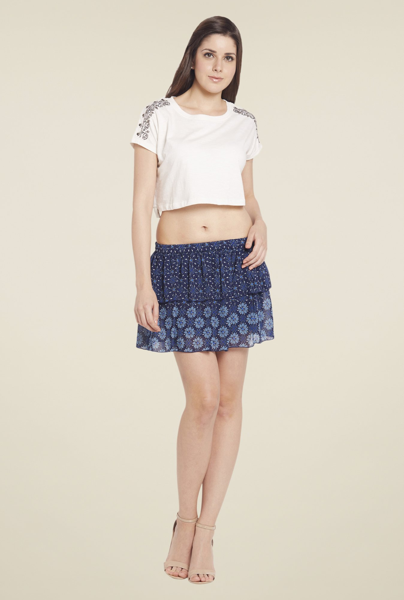 Globus Navy Floral Printed Mini Skirt