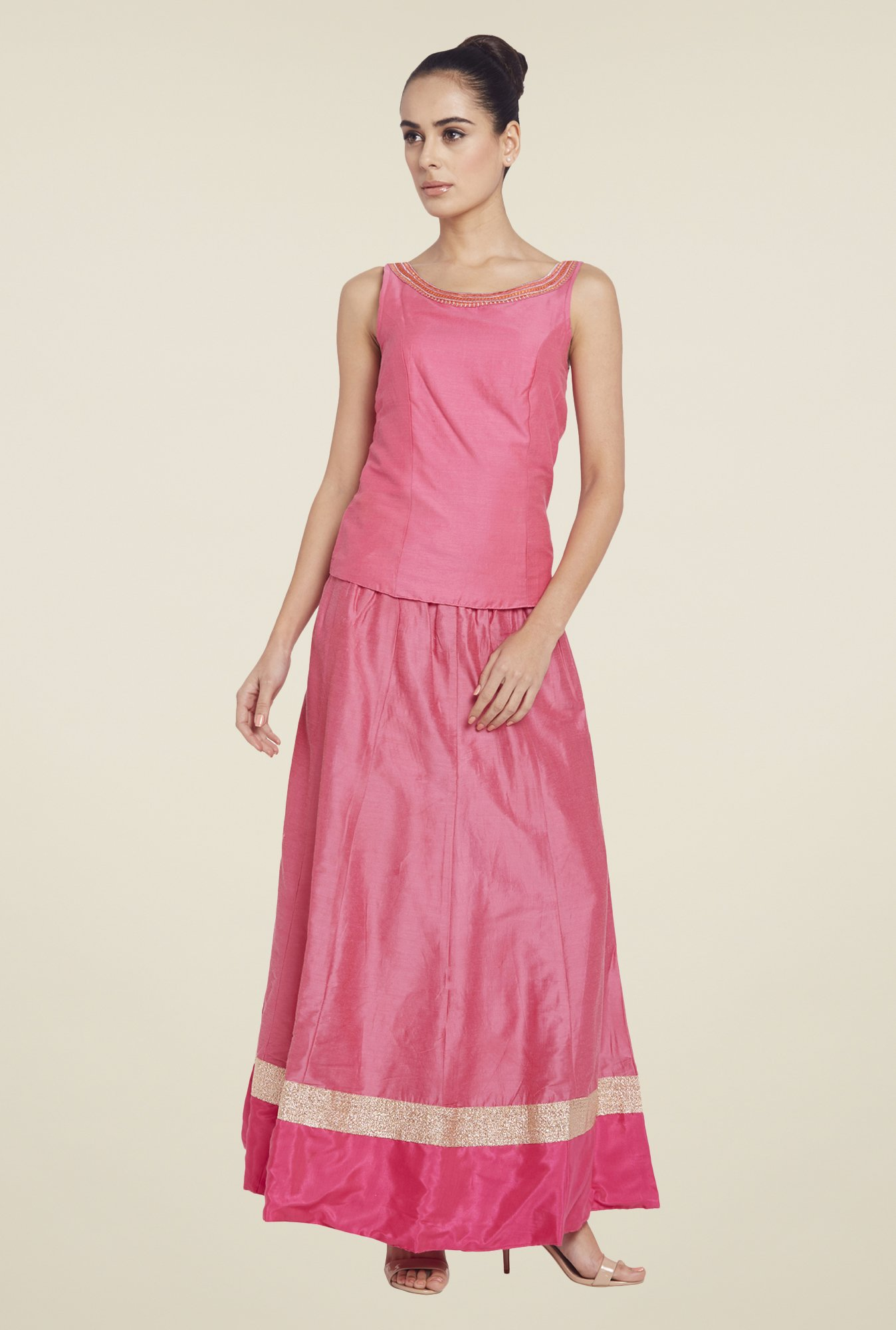 Globus Pink Solid Maxi Skirt