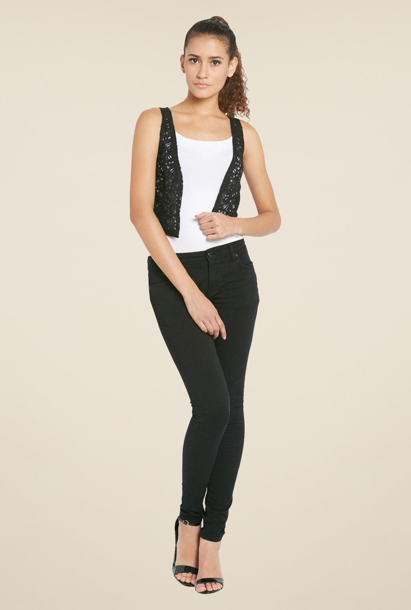 Globus Black Crochet Shrug