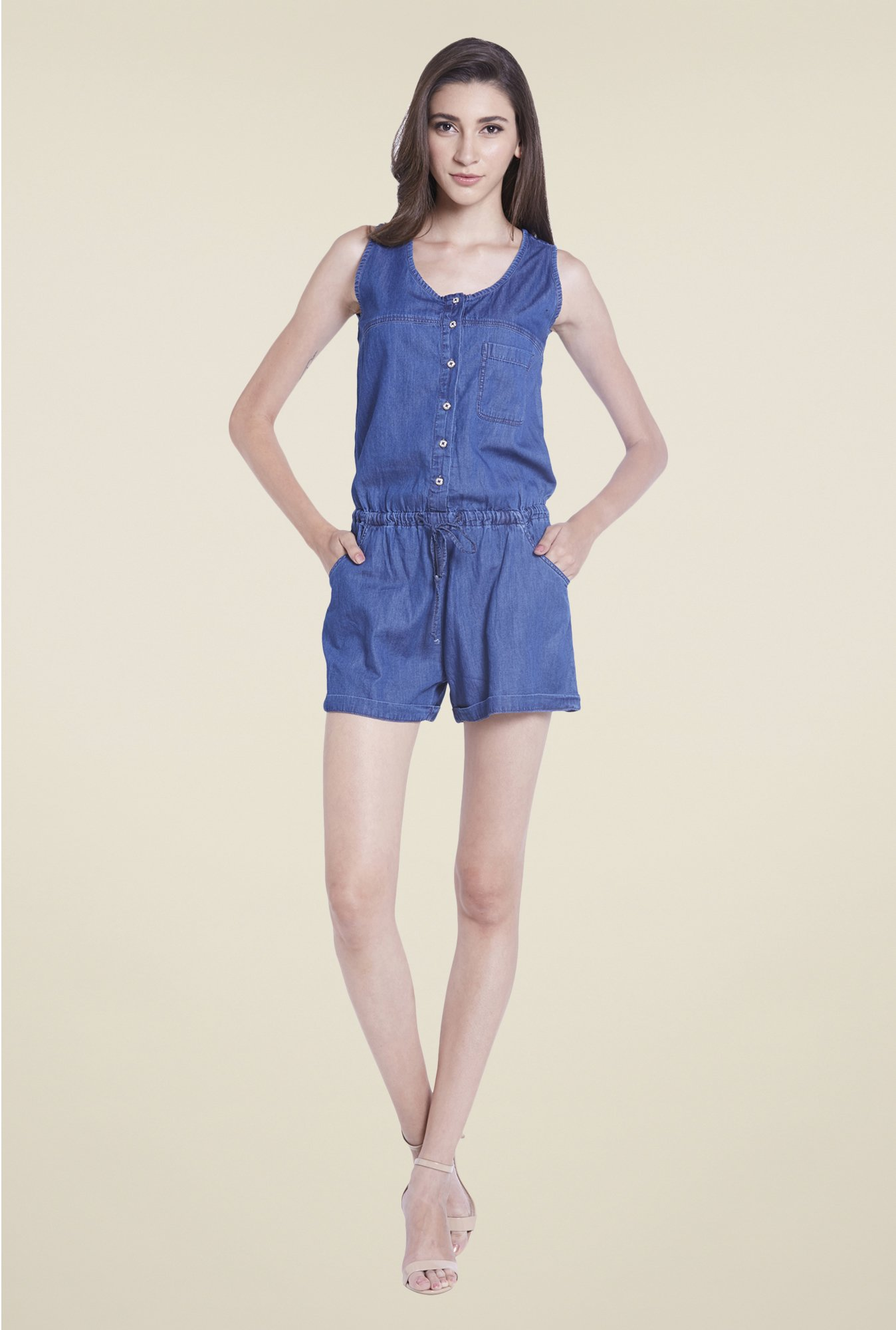 Globus Denim Blue Solid Jumpsuit