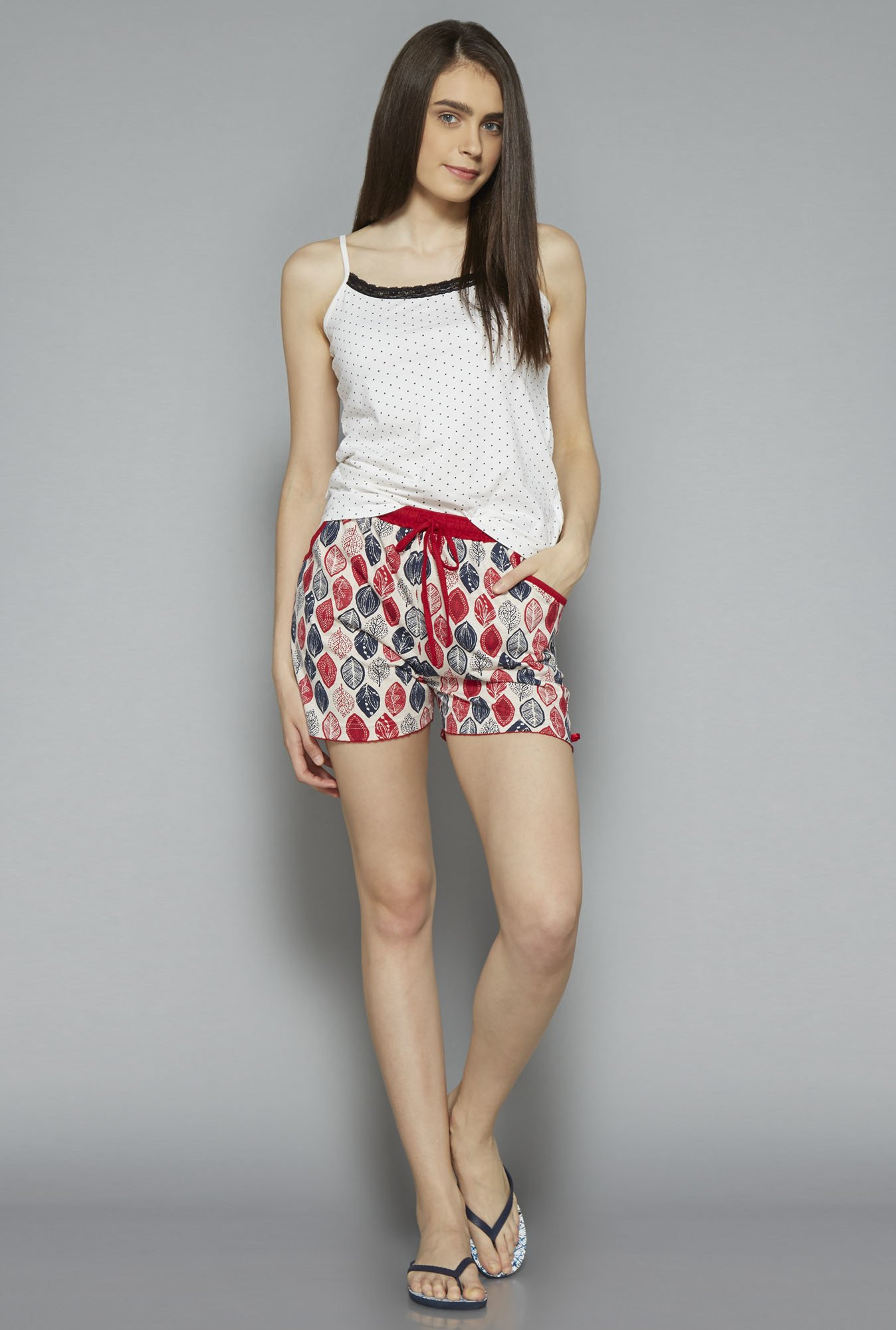 Intima by Westside Off White Leaf Printed Shorts