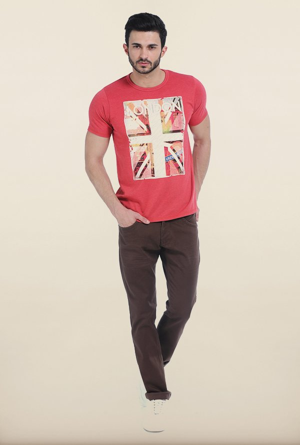 Basics Melange Red Crew T Shirt