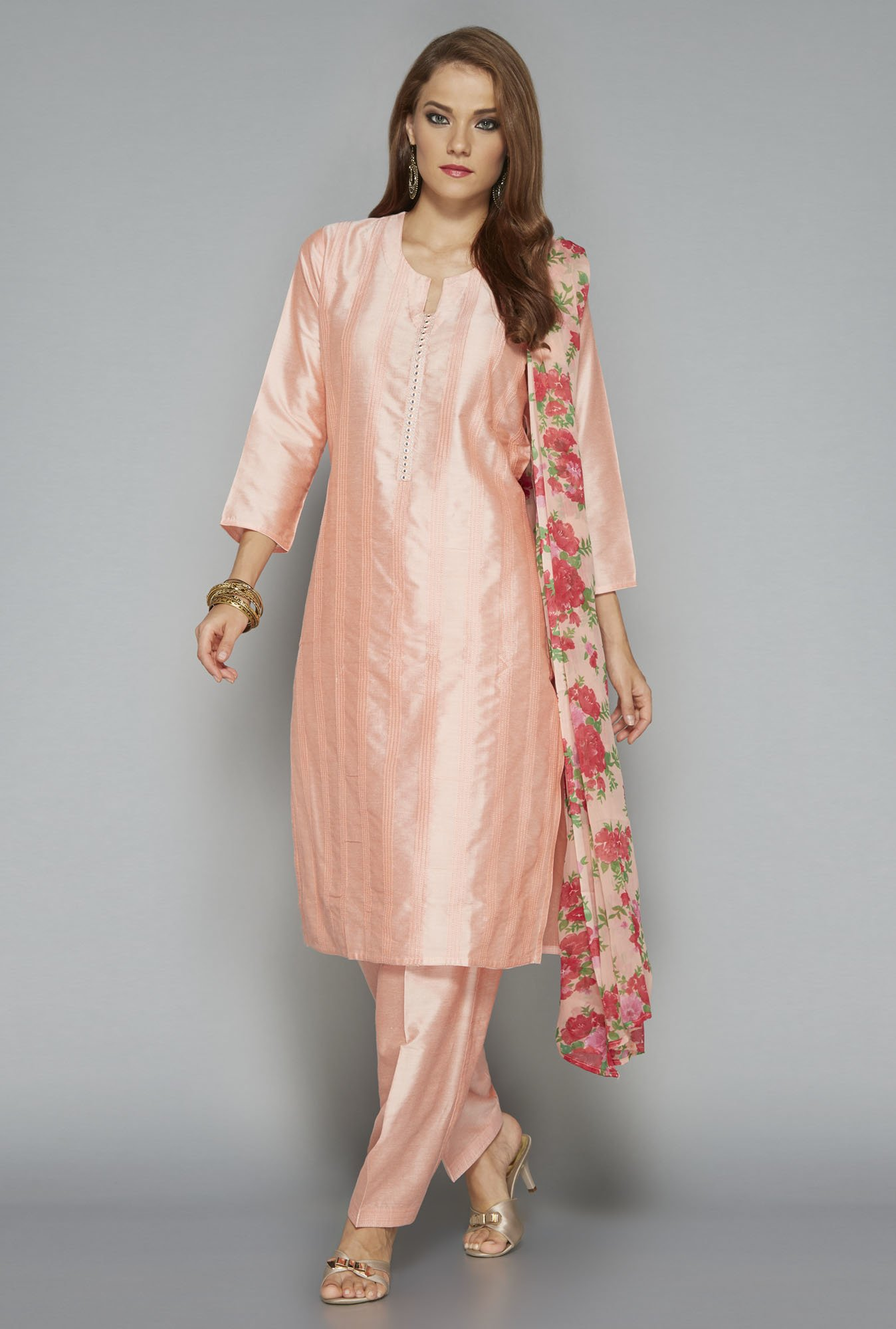 Vark by Westside Pink Solid Suit Set