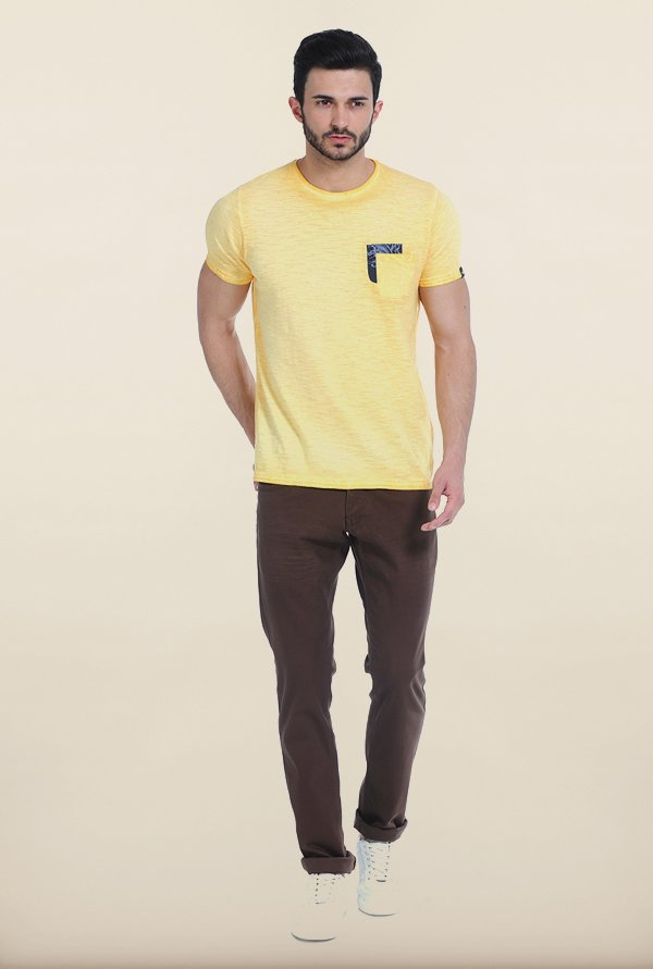 Basics Buttercup Yellow Crew Over Dyed T Shirt