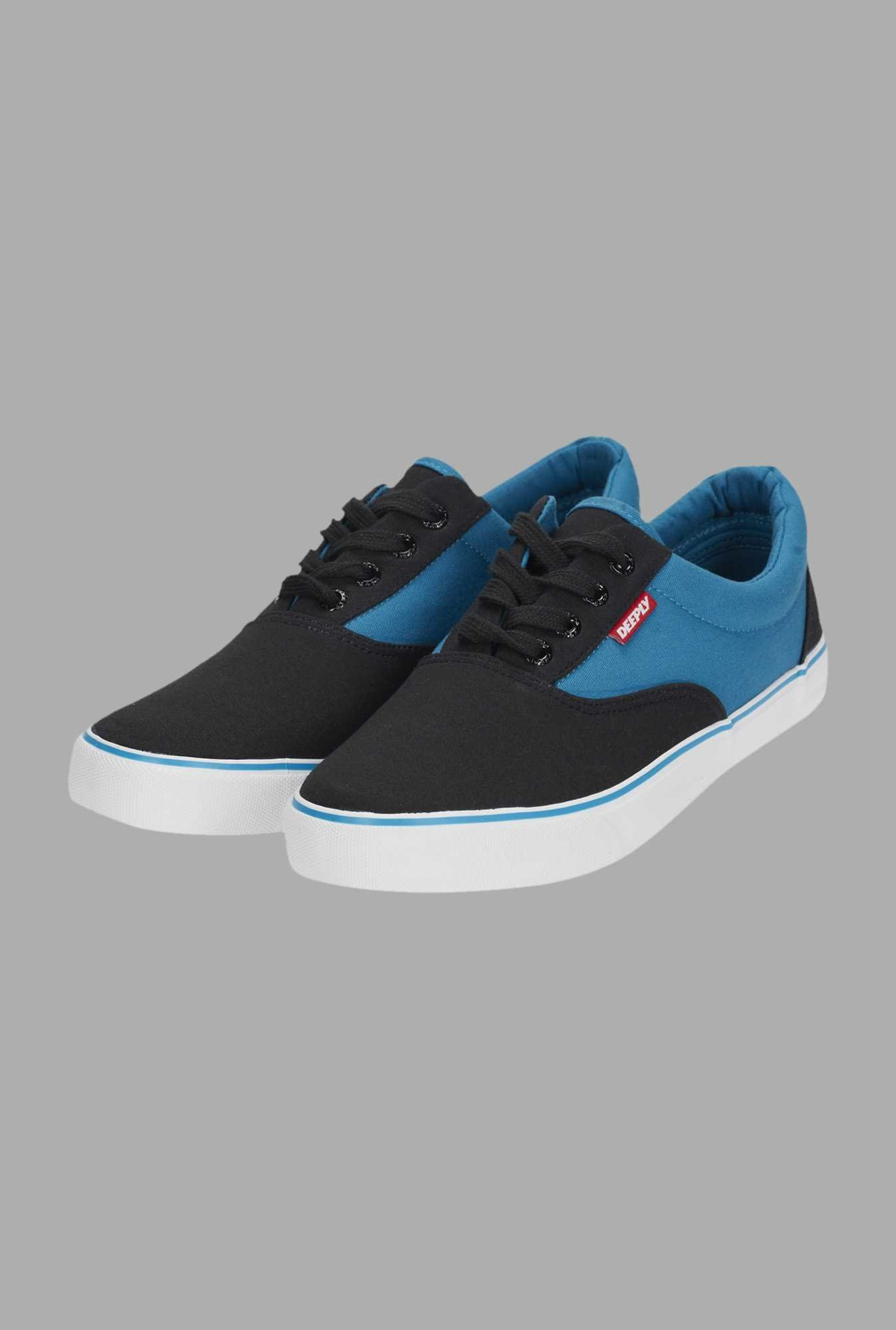 Deeply Black & Blue Canvas Sneakers