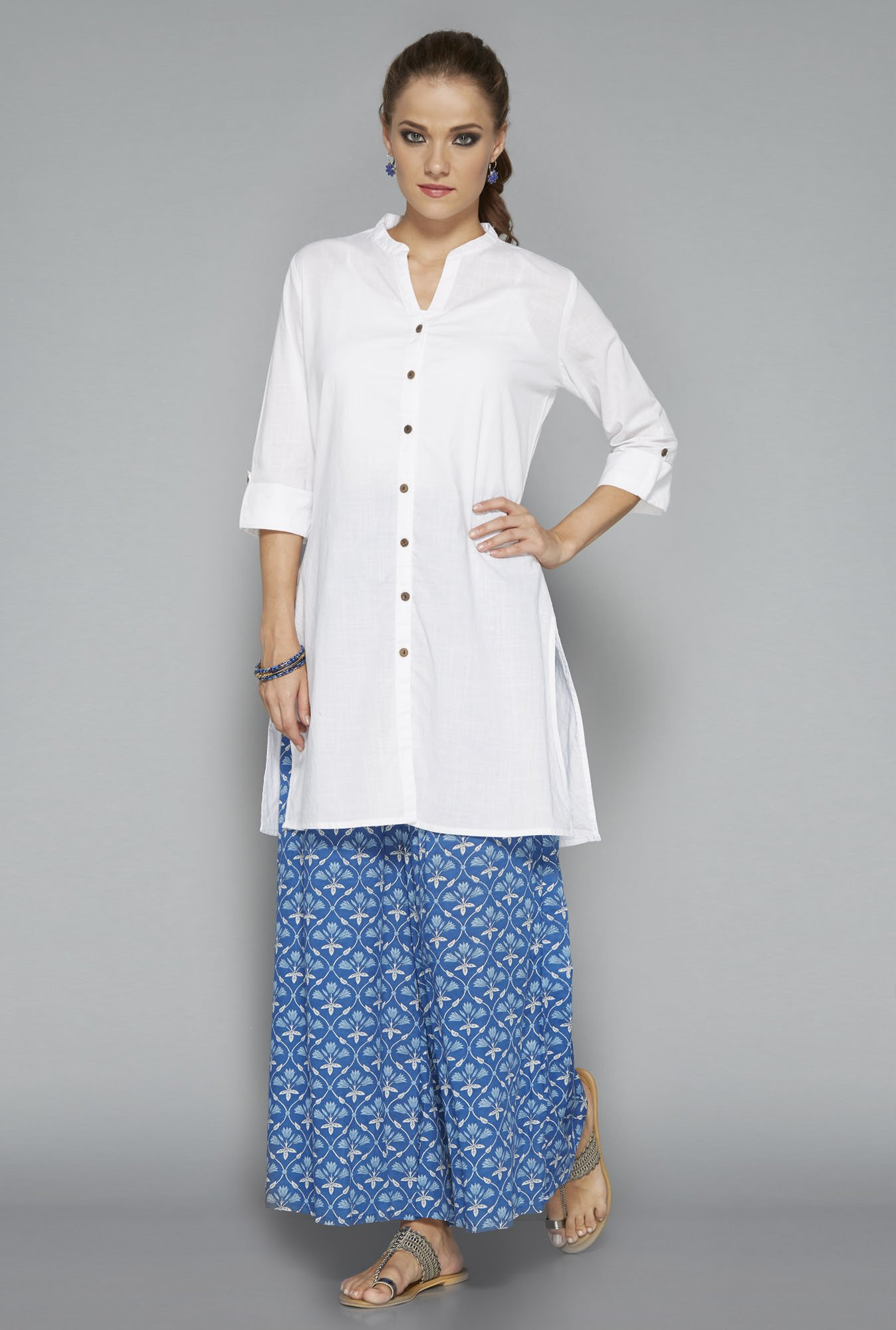 Utsa by Westside White Solid Kurti