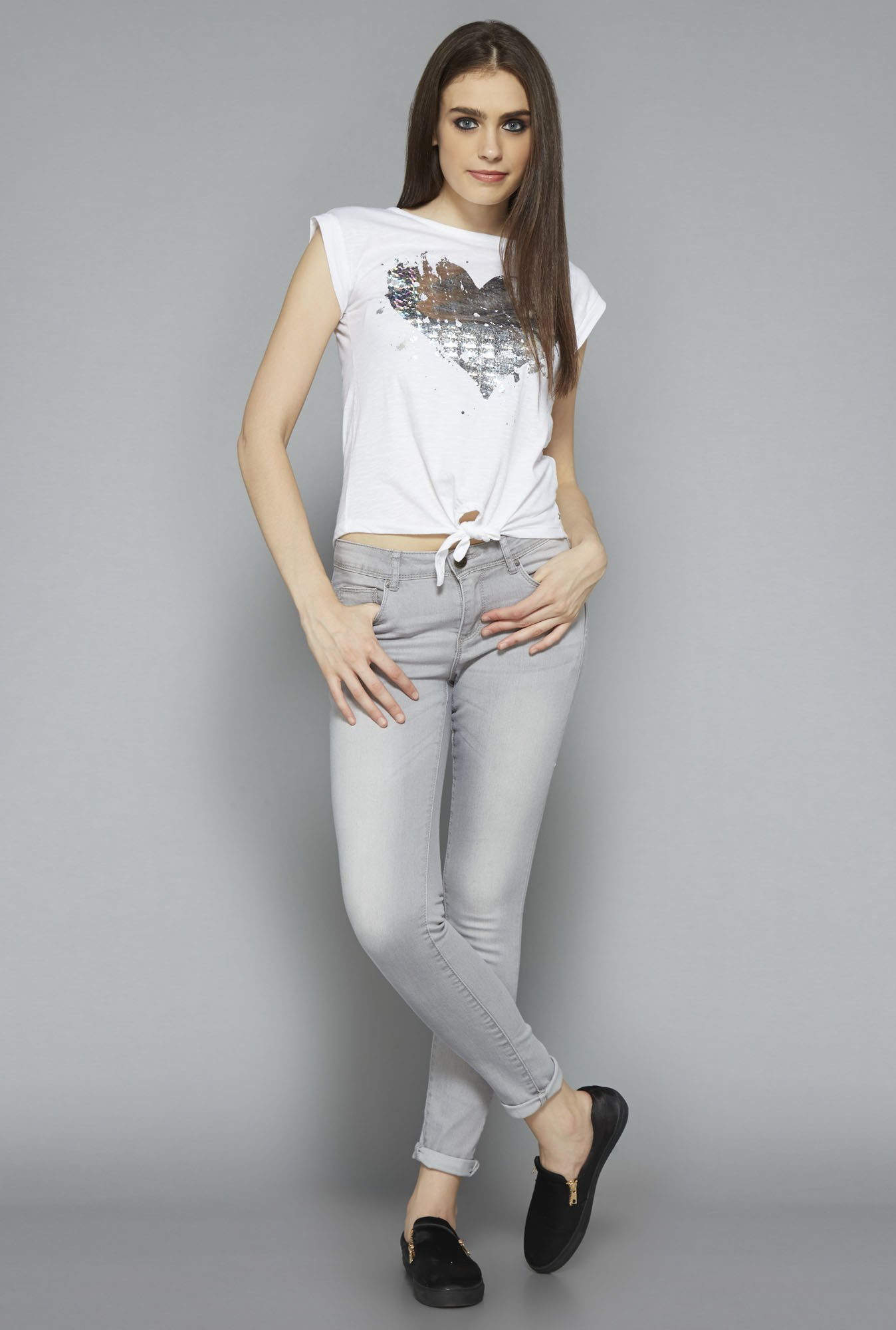 Nuon by Westside White Heart Print Top