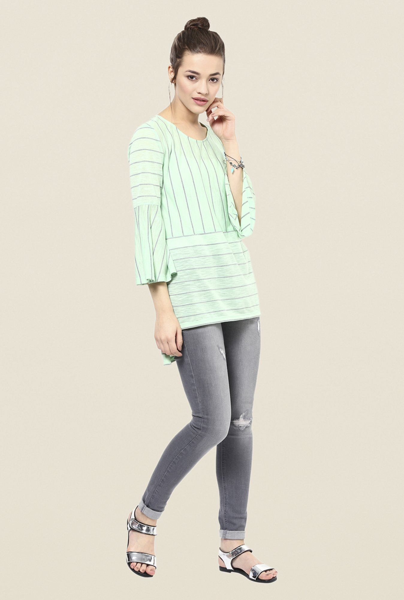 Femella Green Striped Top