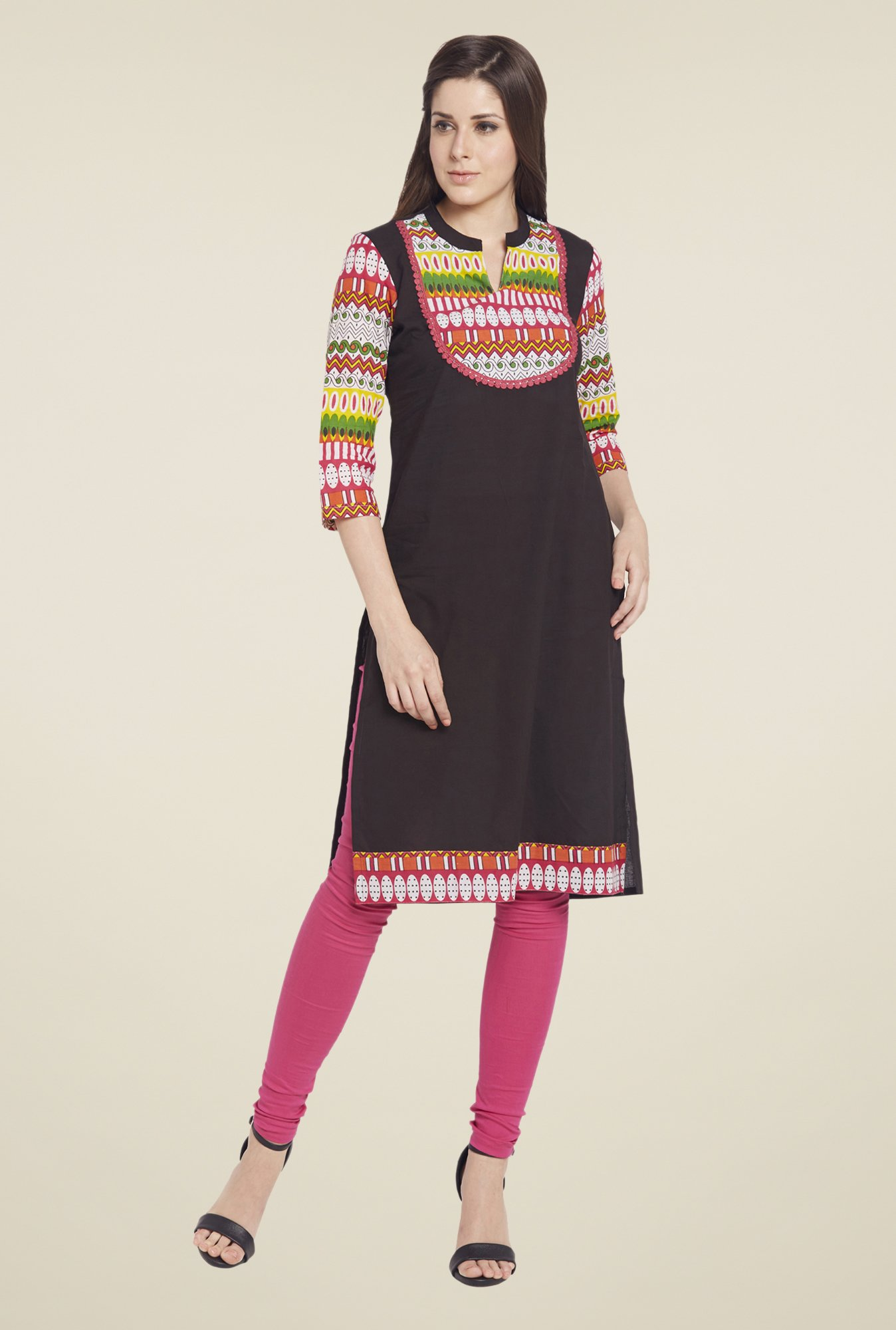 Globus Black Printed Cotton Kurta