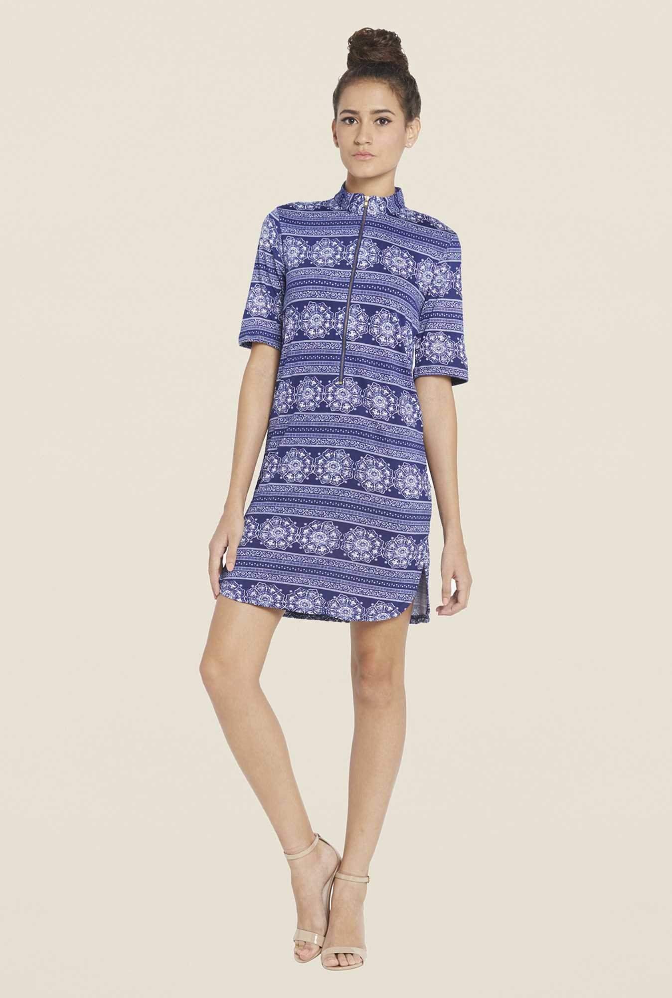 Globus Blue Printed Shift Dress