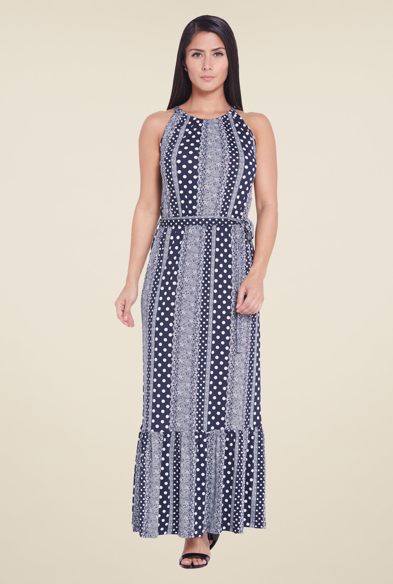 Globus Navy Printed Maxi Dress