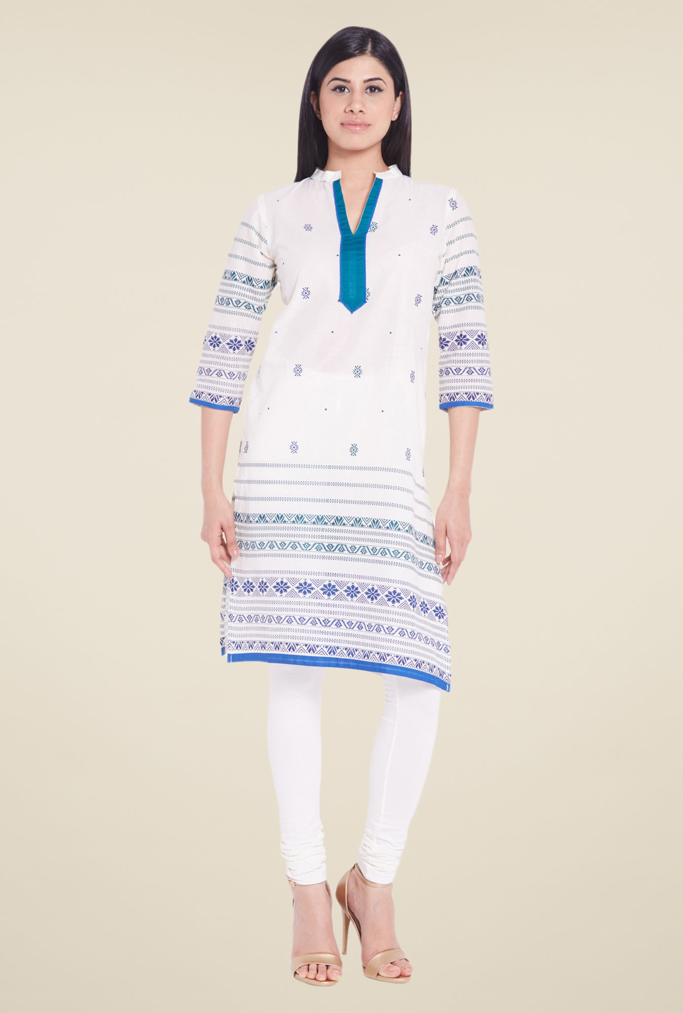 Globus White Printed Cotton Kurti