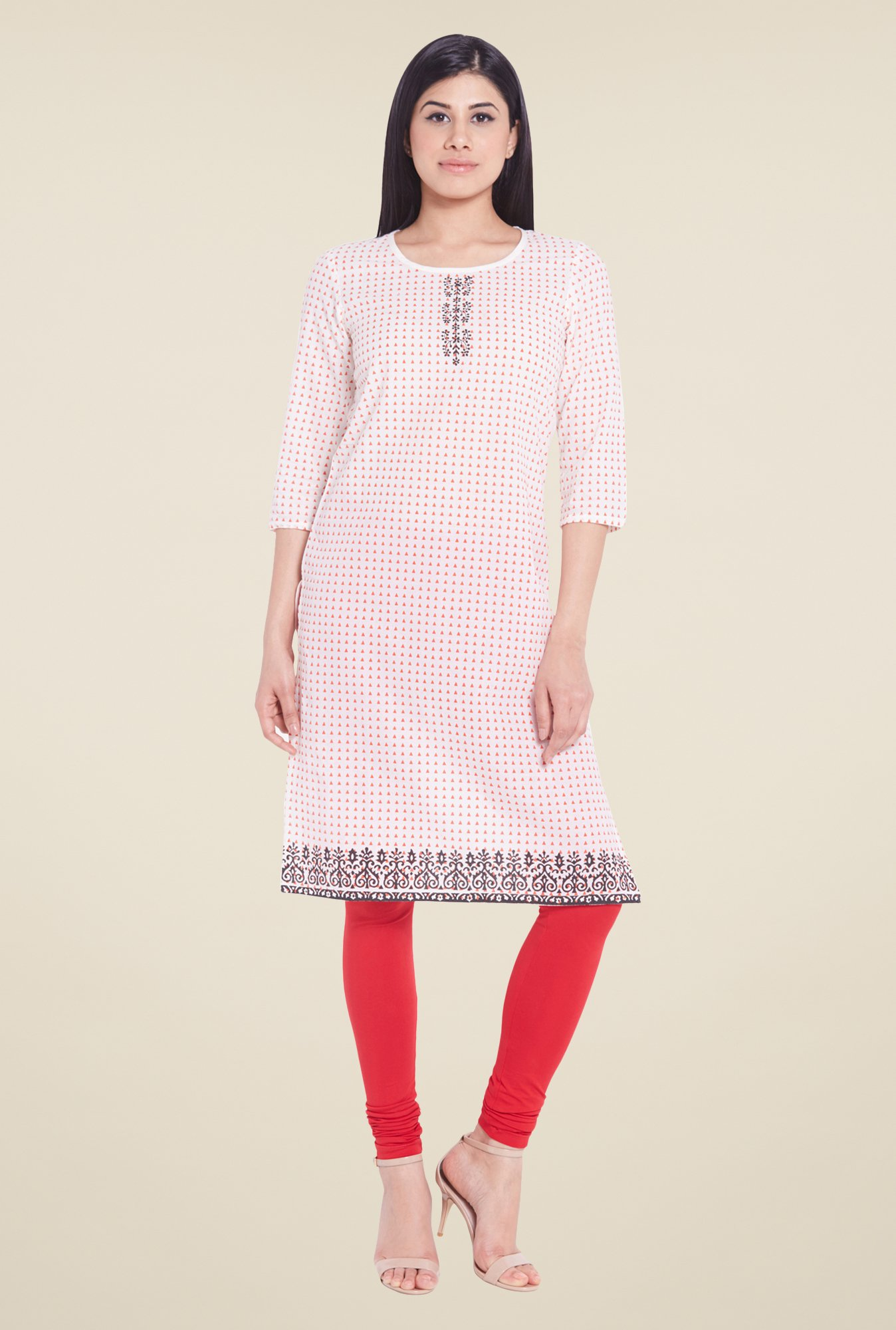 Globus White Printed Regular Fit Kurti
