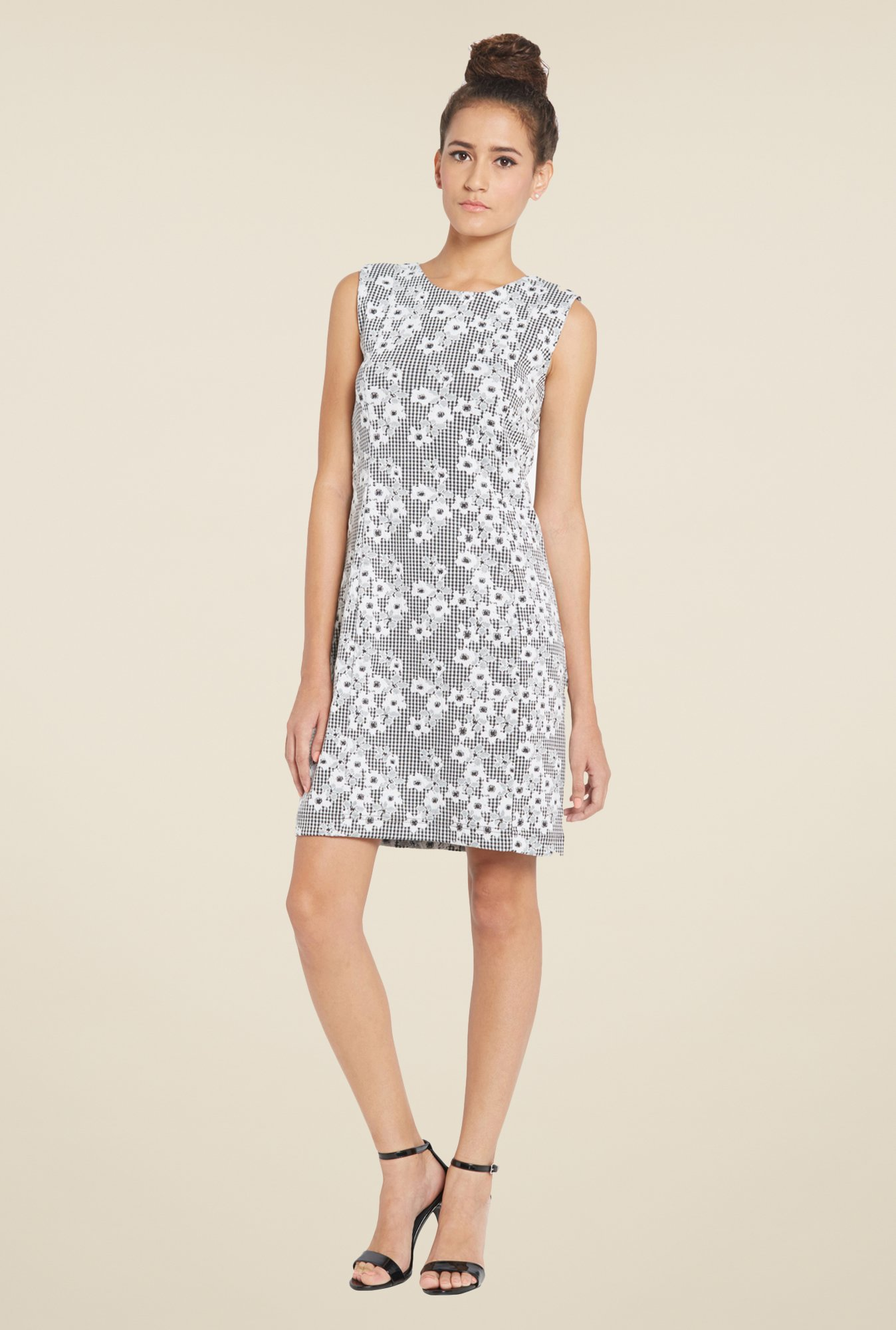 Globus Grey Floral Print Shift Dress