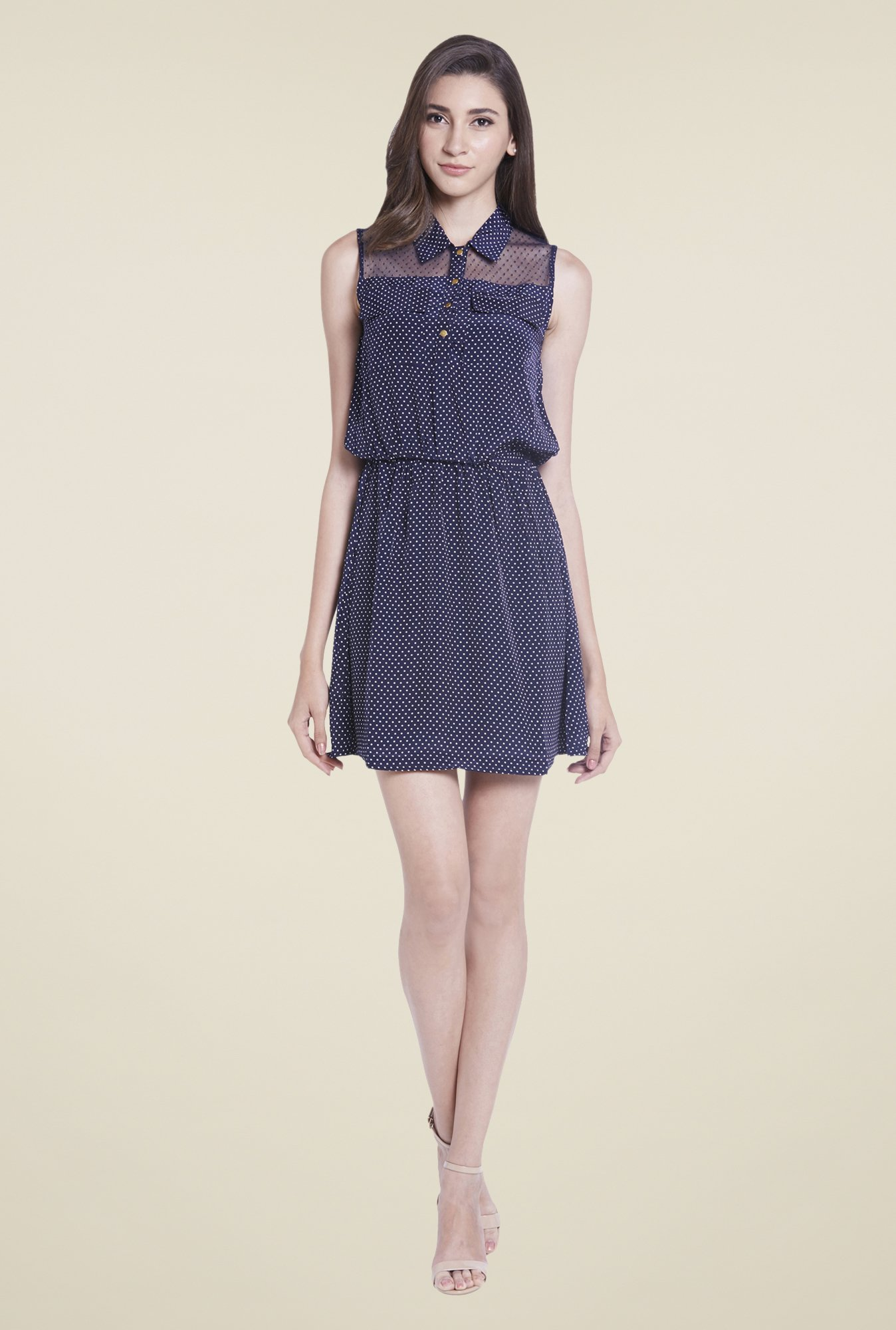 Globus Navy Blouson Dress