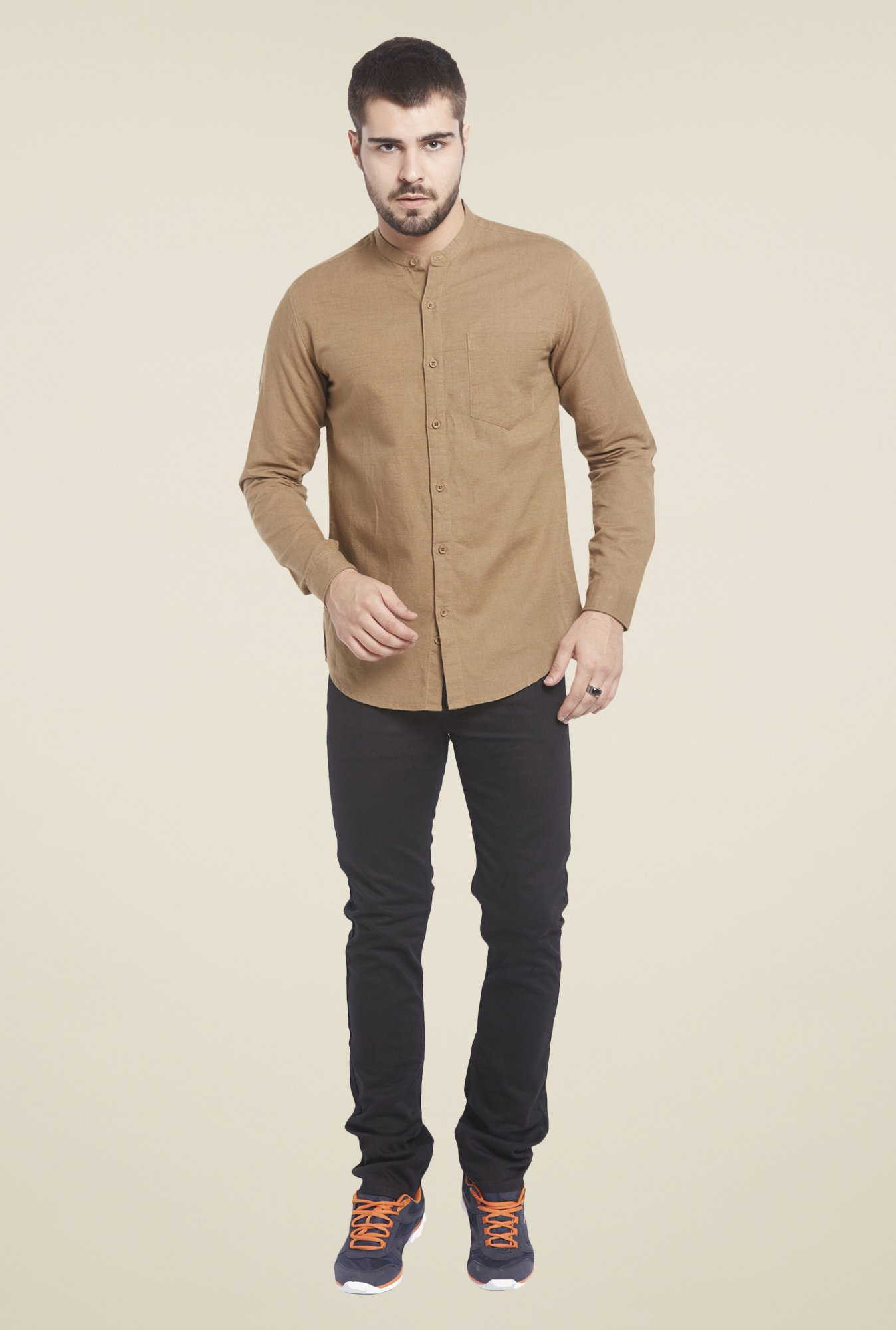Globus Brown Solid Linen Shirt