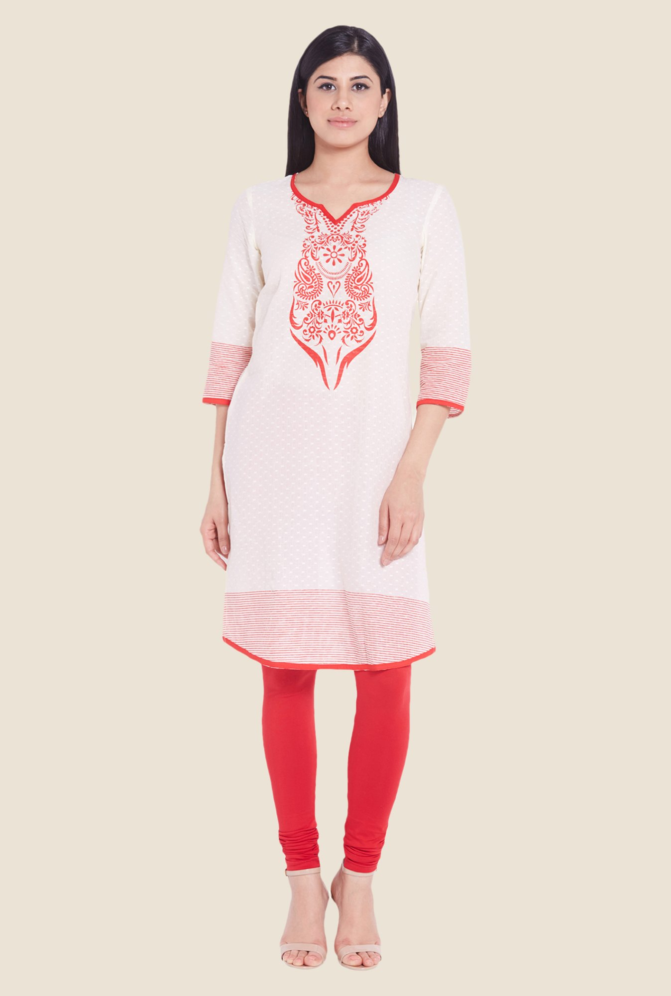 Globus Off White Cotton Kurti