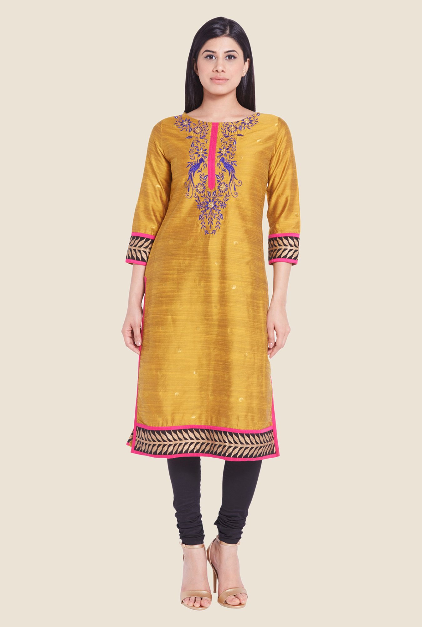 Globus Yellow Embroidered Kurti