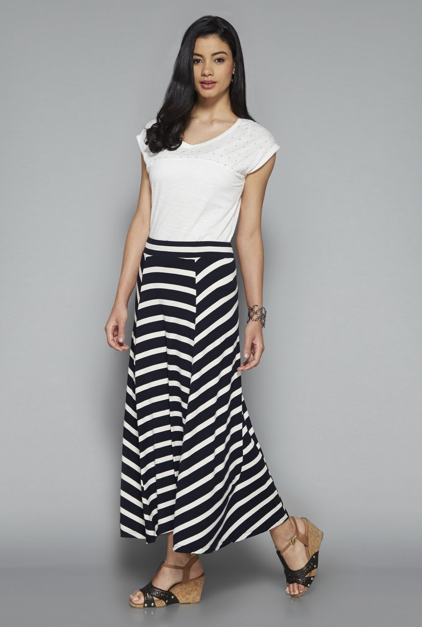 LOV by Westside Navy Striped Cecila Skirt