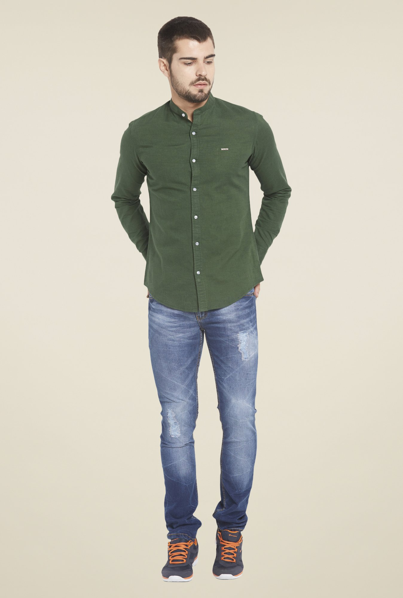 Globus Bottle Green Solid Shirt
