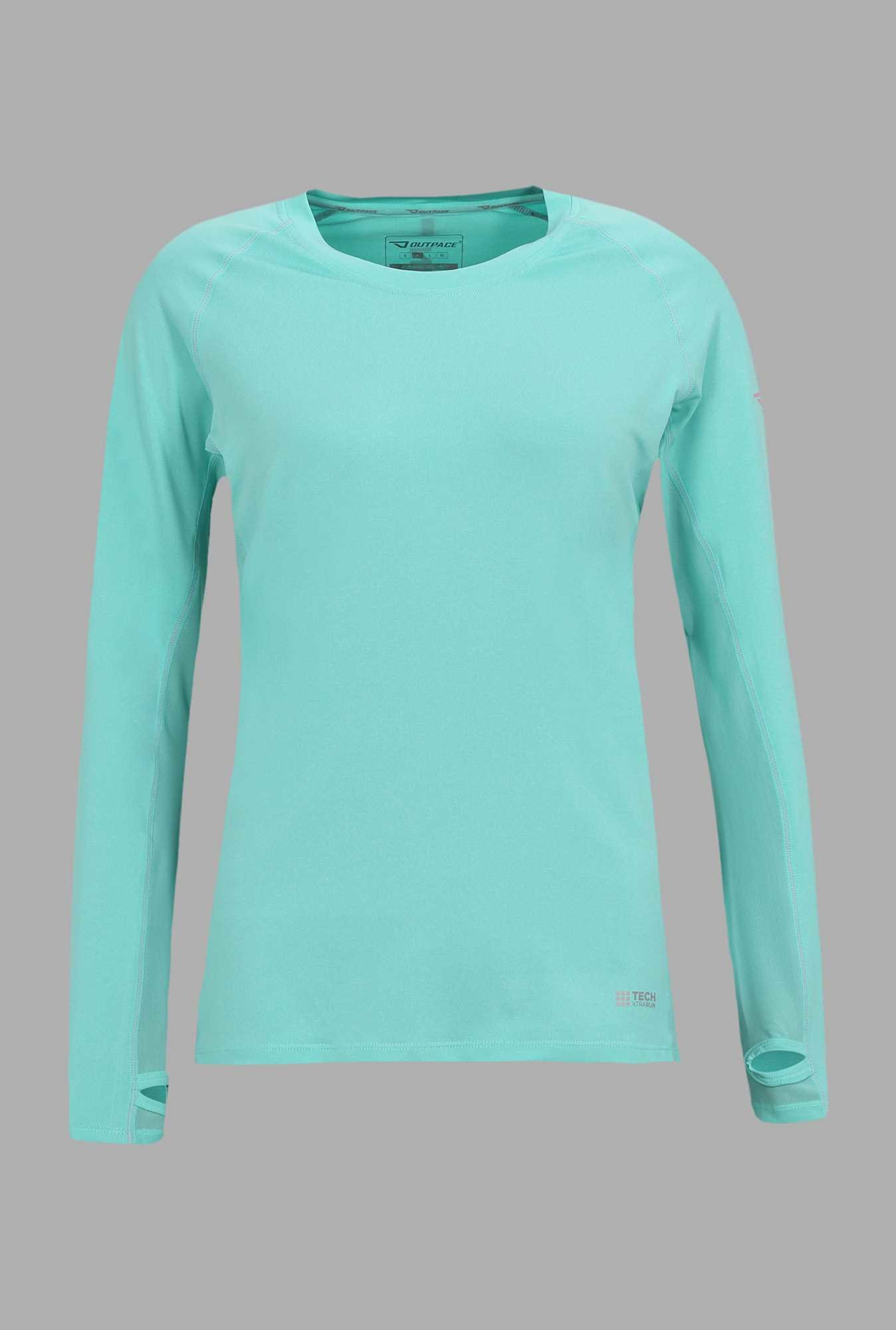 Outpace Turquoise Solid Running T Shirt