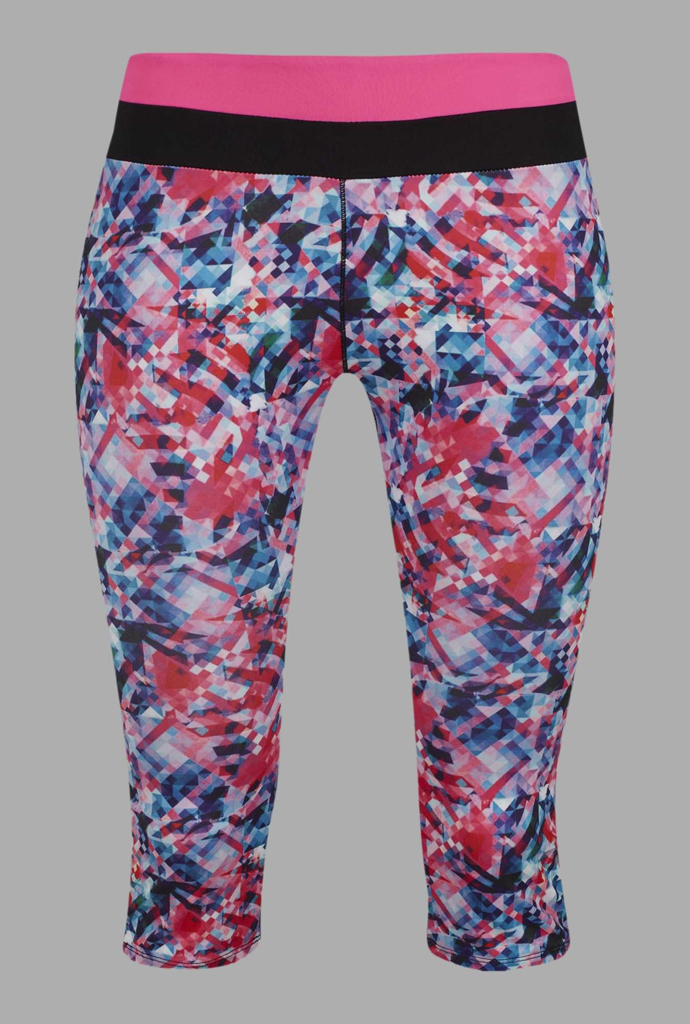 Doone Multicolor Printed Training Capris