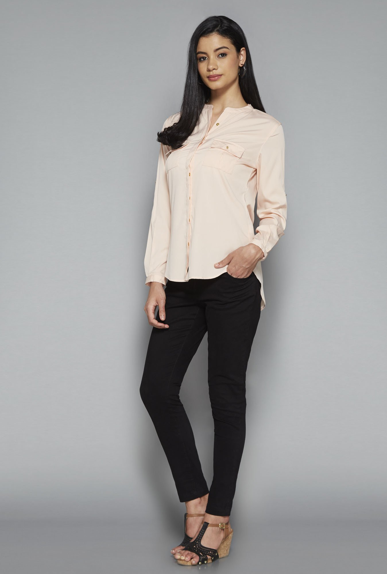 LOV by Westside Pink Brandy Solid Blouse