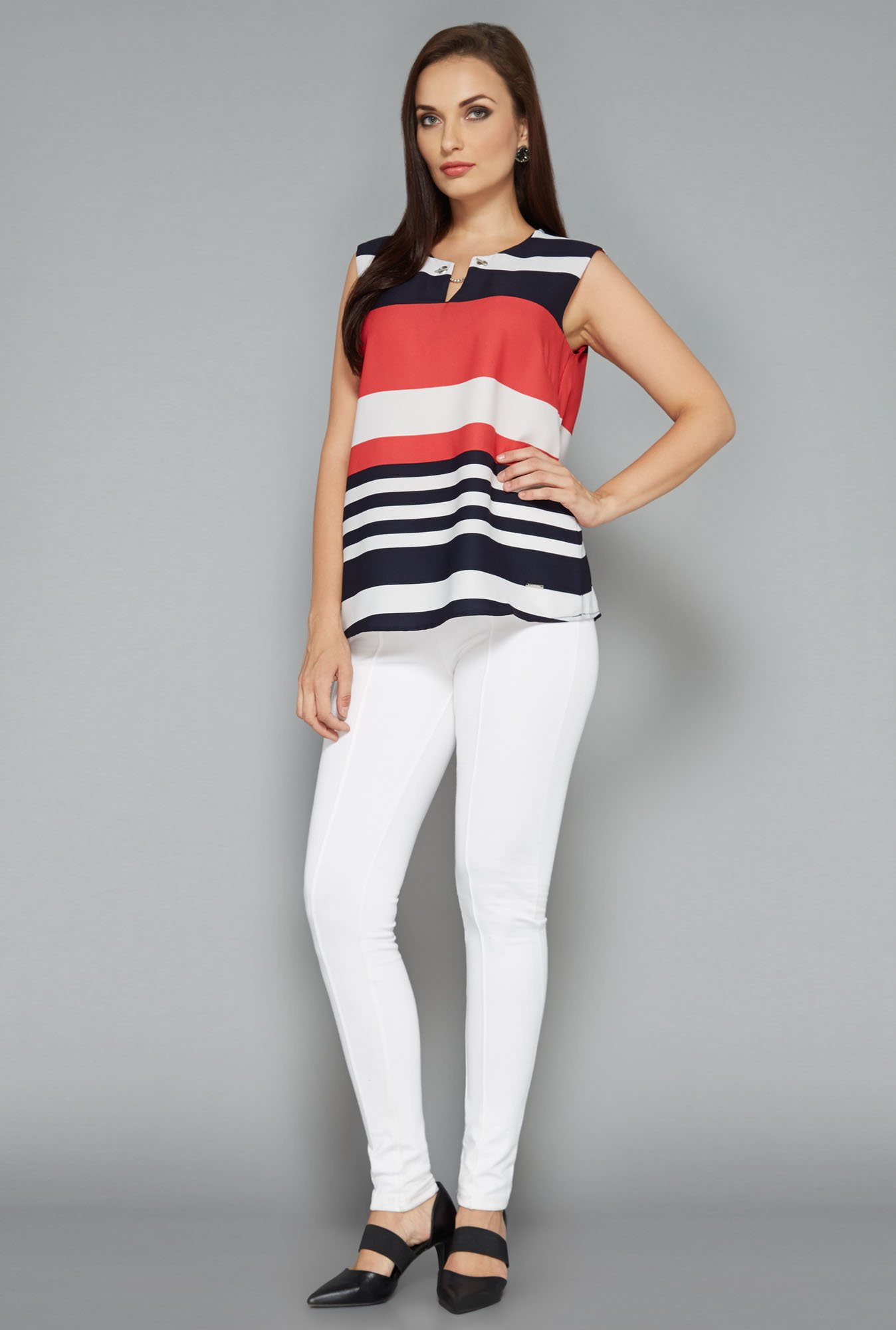 Wardrobe by Westside Multicolor Striped Blouse
