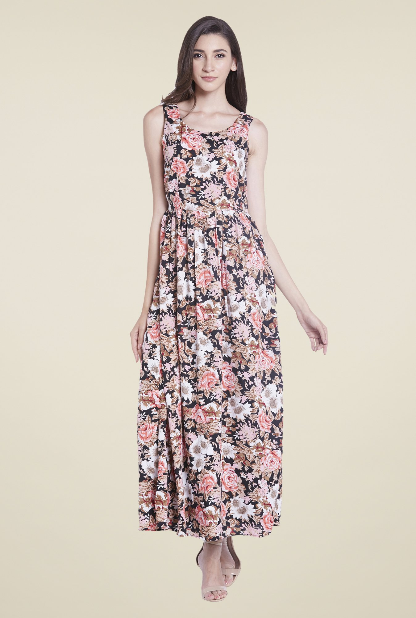 Globus Black Floral Print Maxi Dress