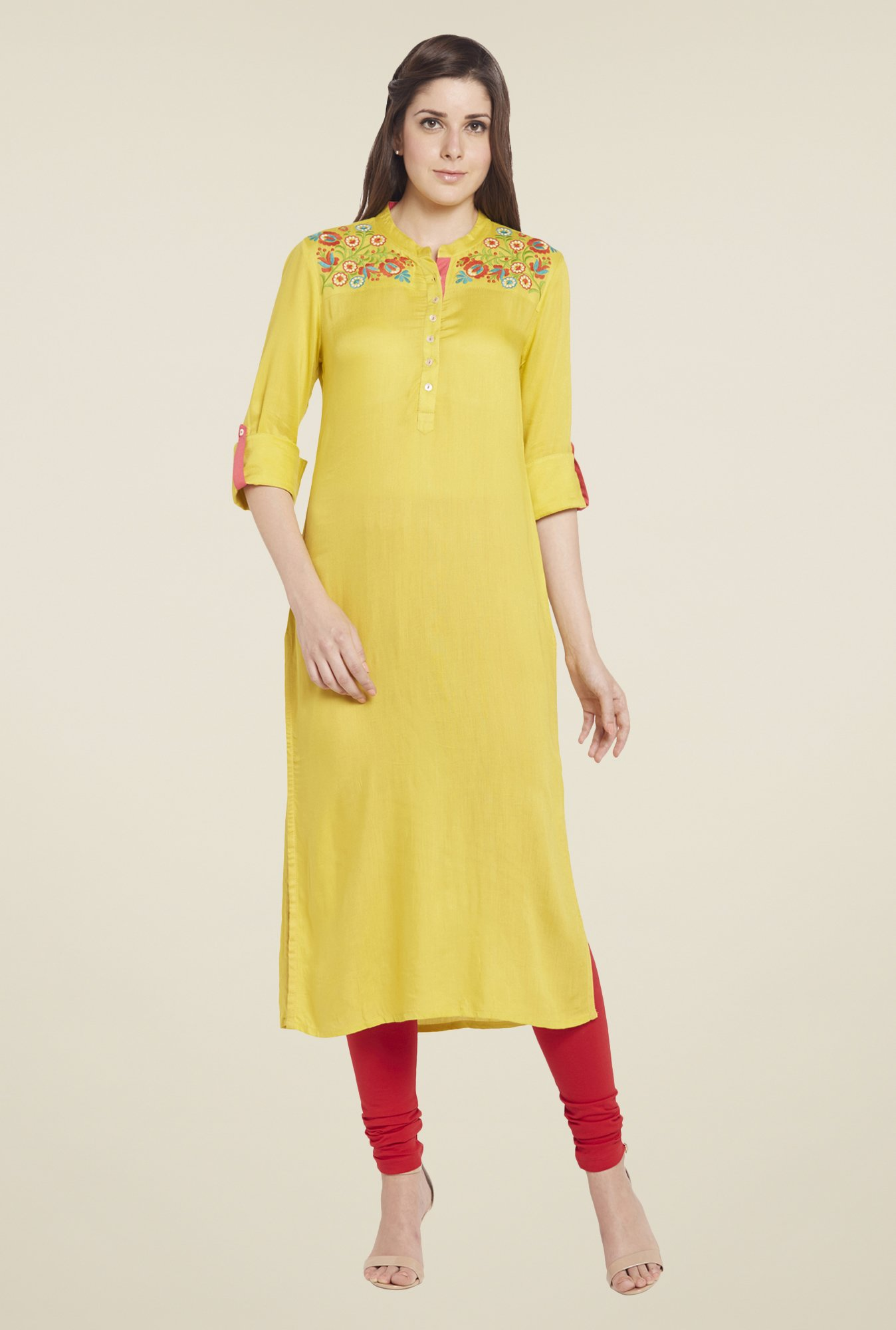 Globus Yellow Solid Kurta