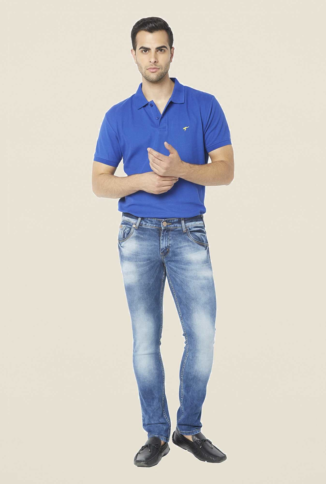 Globus Blue Heavily Washed Regular Jeans