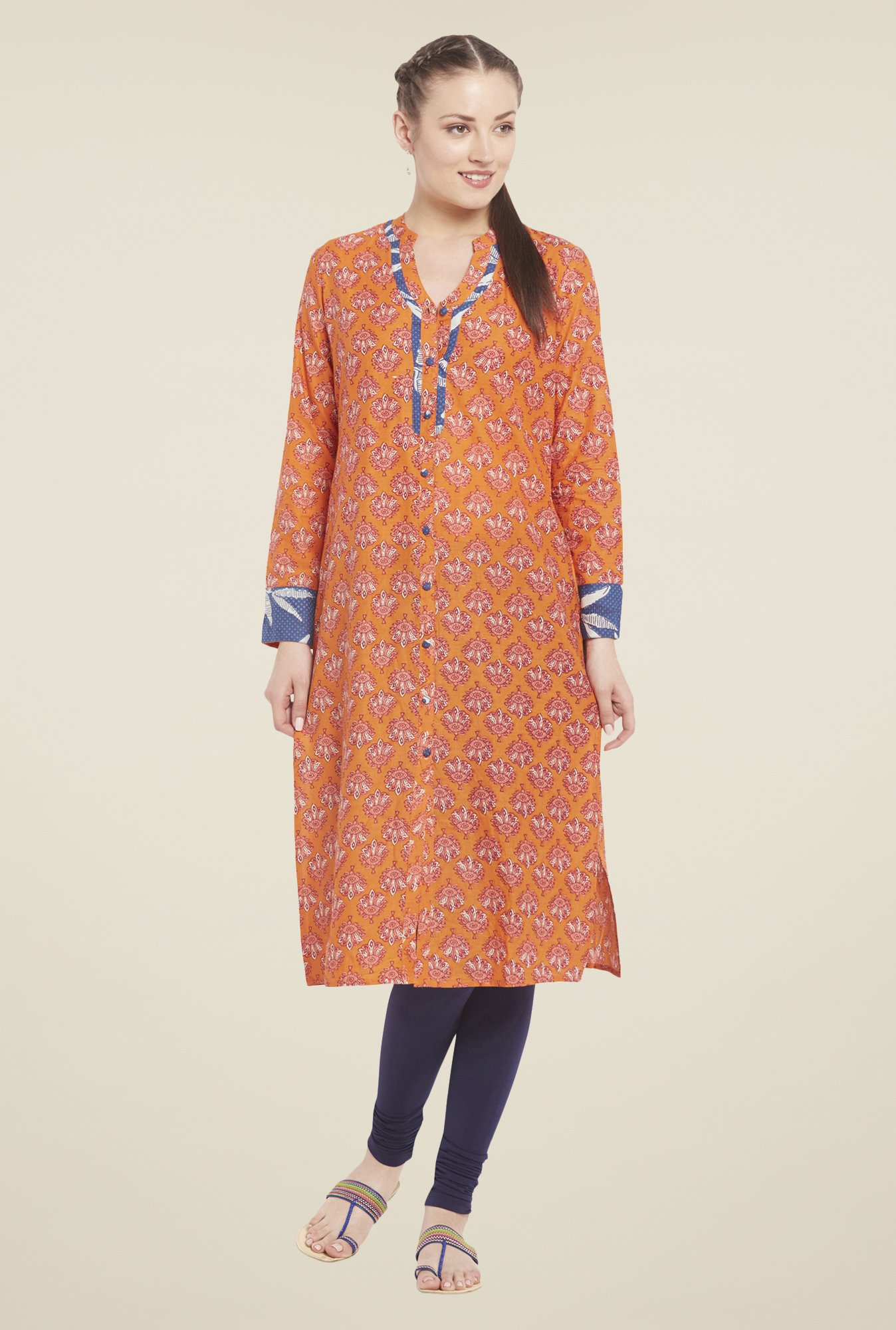 Globus Orange Cotton Kurta