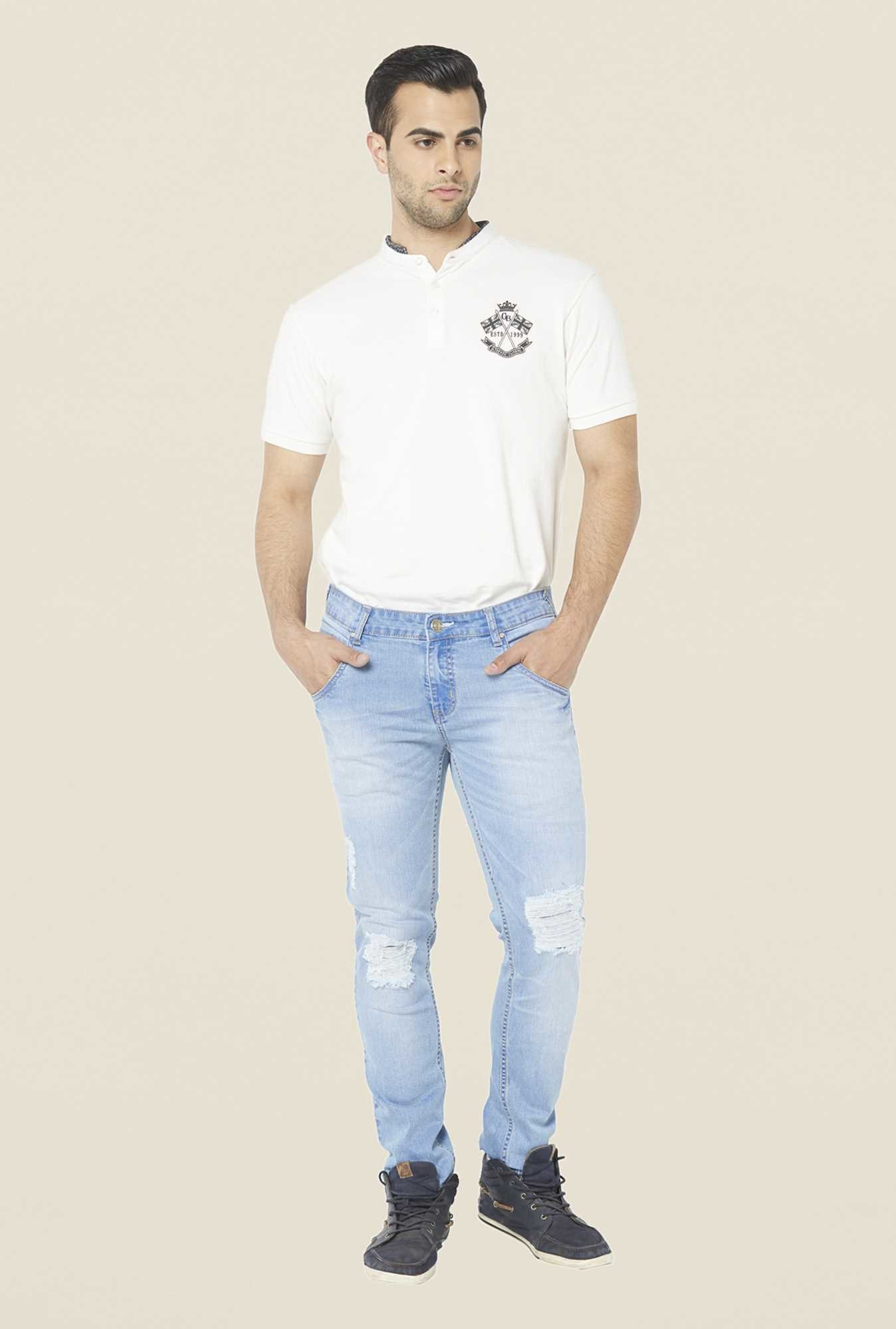 Globus Light Blue Tattered Cotton Jeans
