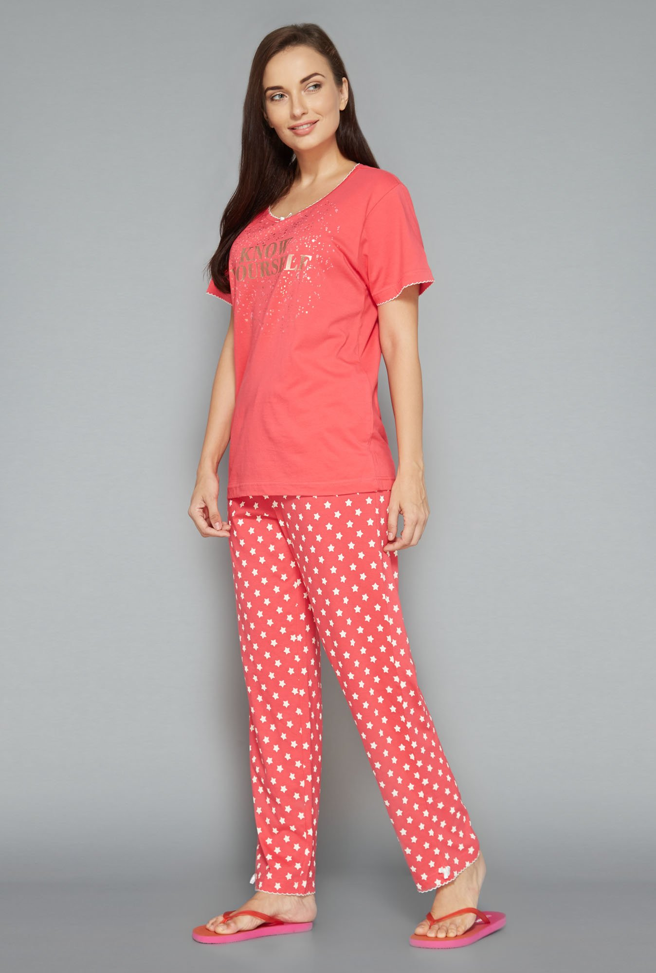 Intima by Westside Pink Printed Pyjama Set