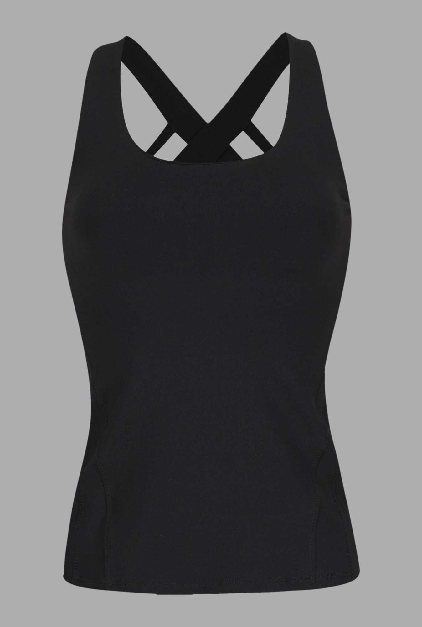 Doone Black Solid Training Singlet