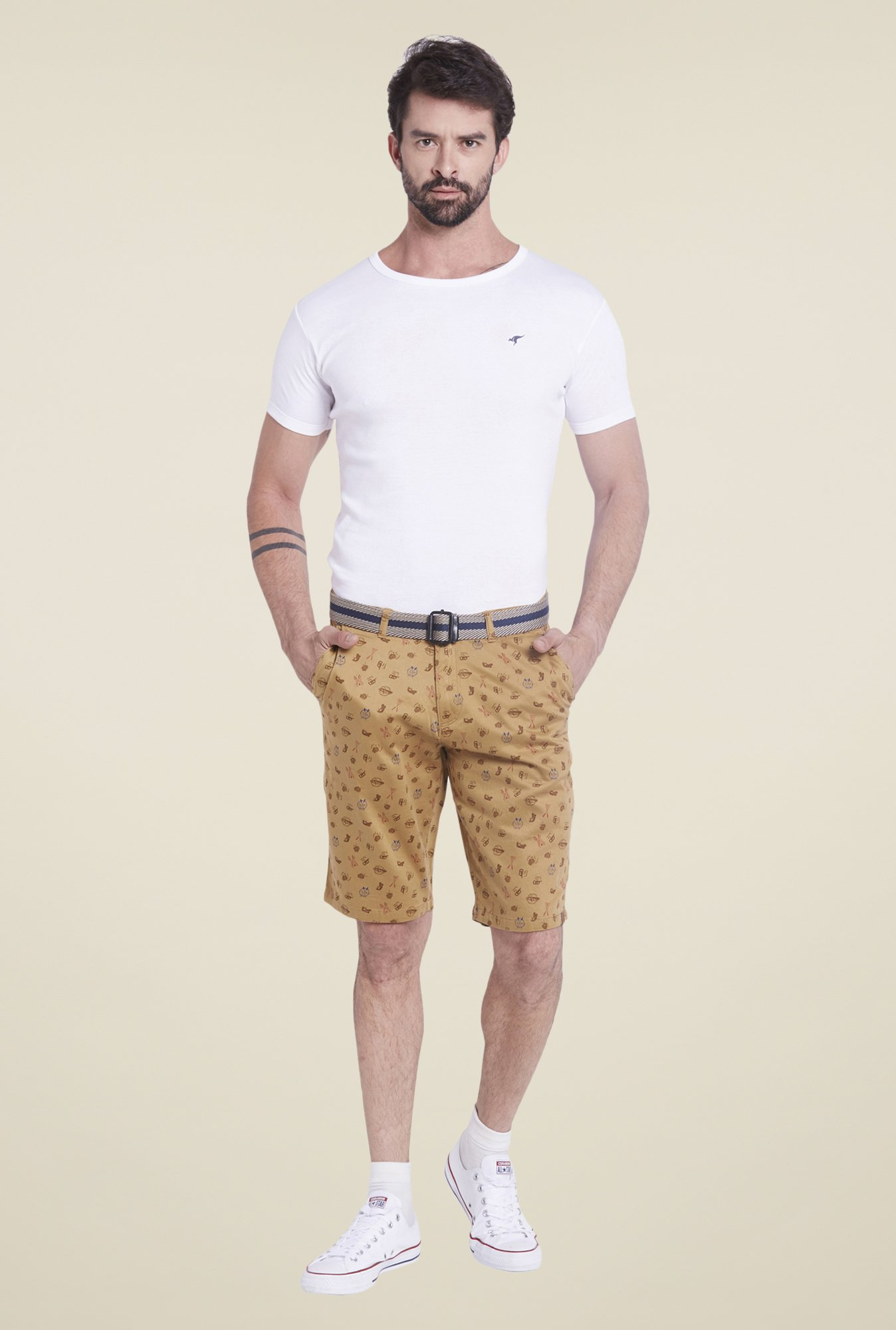 Globus Beige Printed Cotton Shorts
