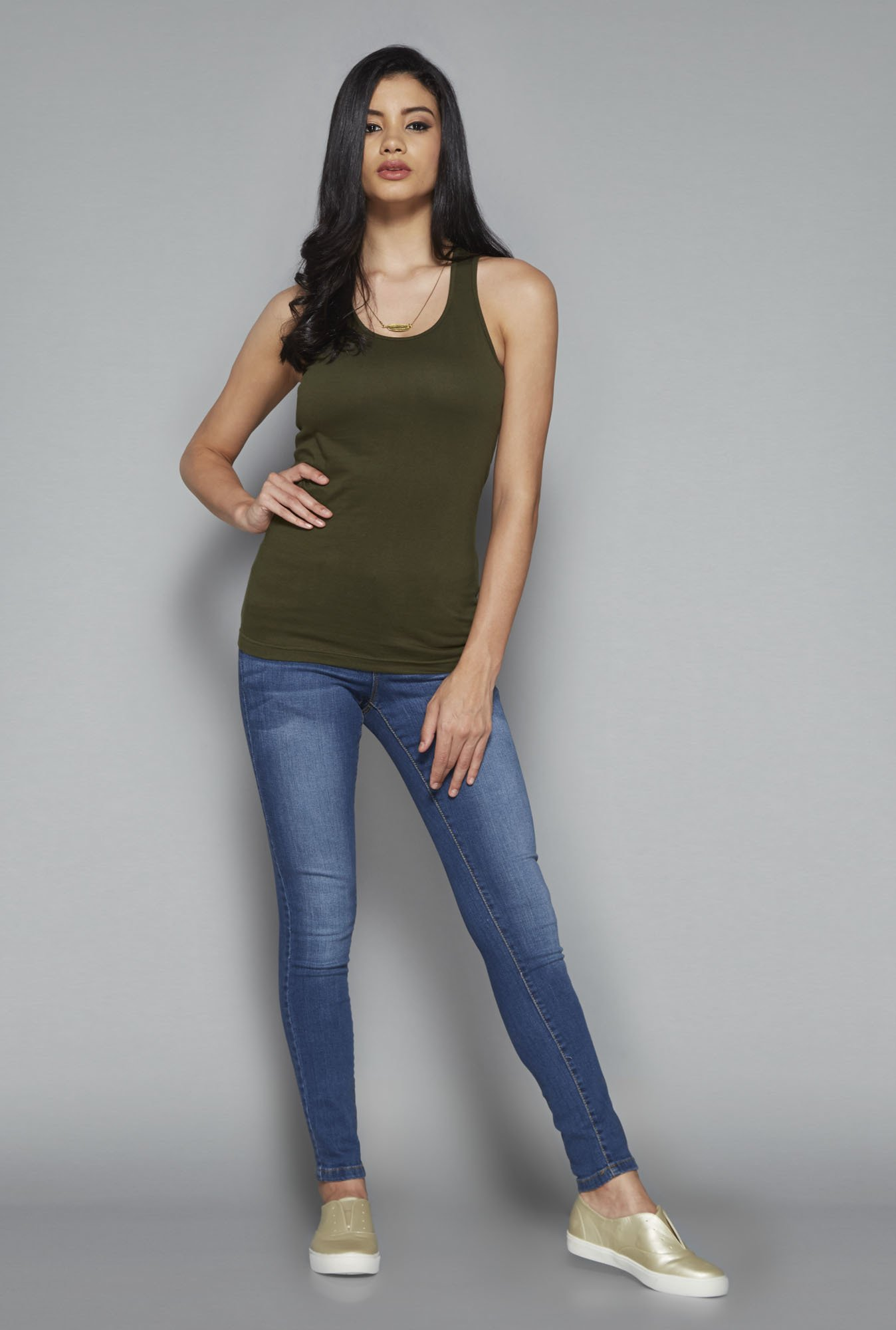 Nuon by Westside Olive Solid Lexi T Shirt