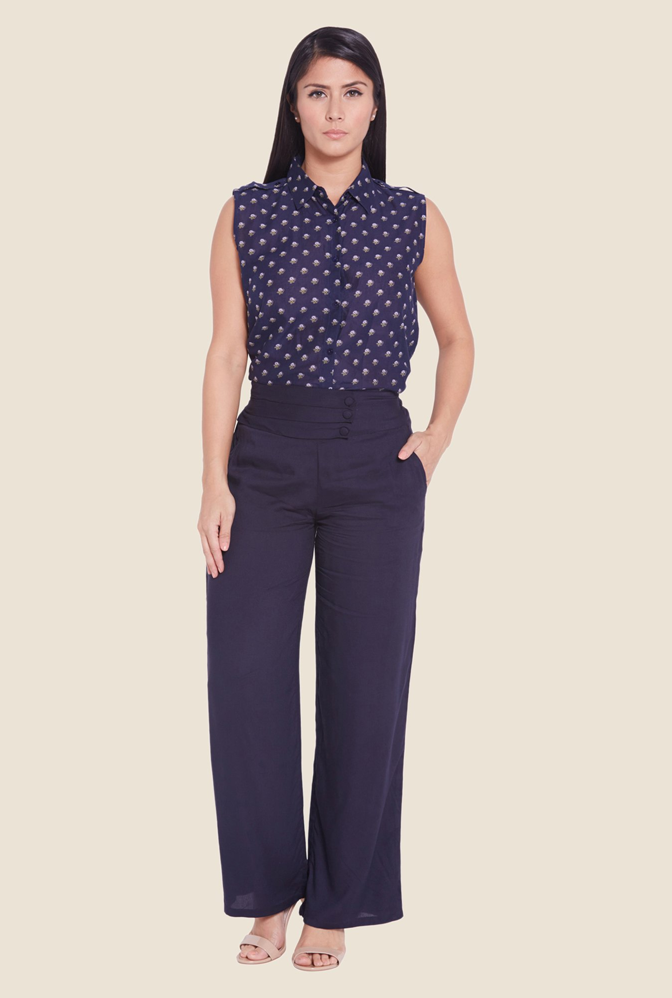 Globus Navy Solid Trousers