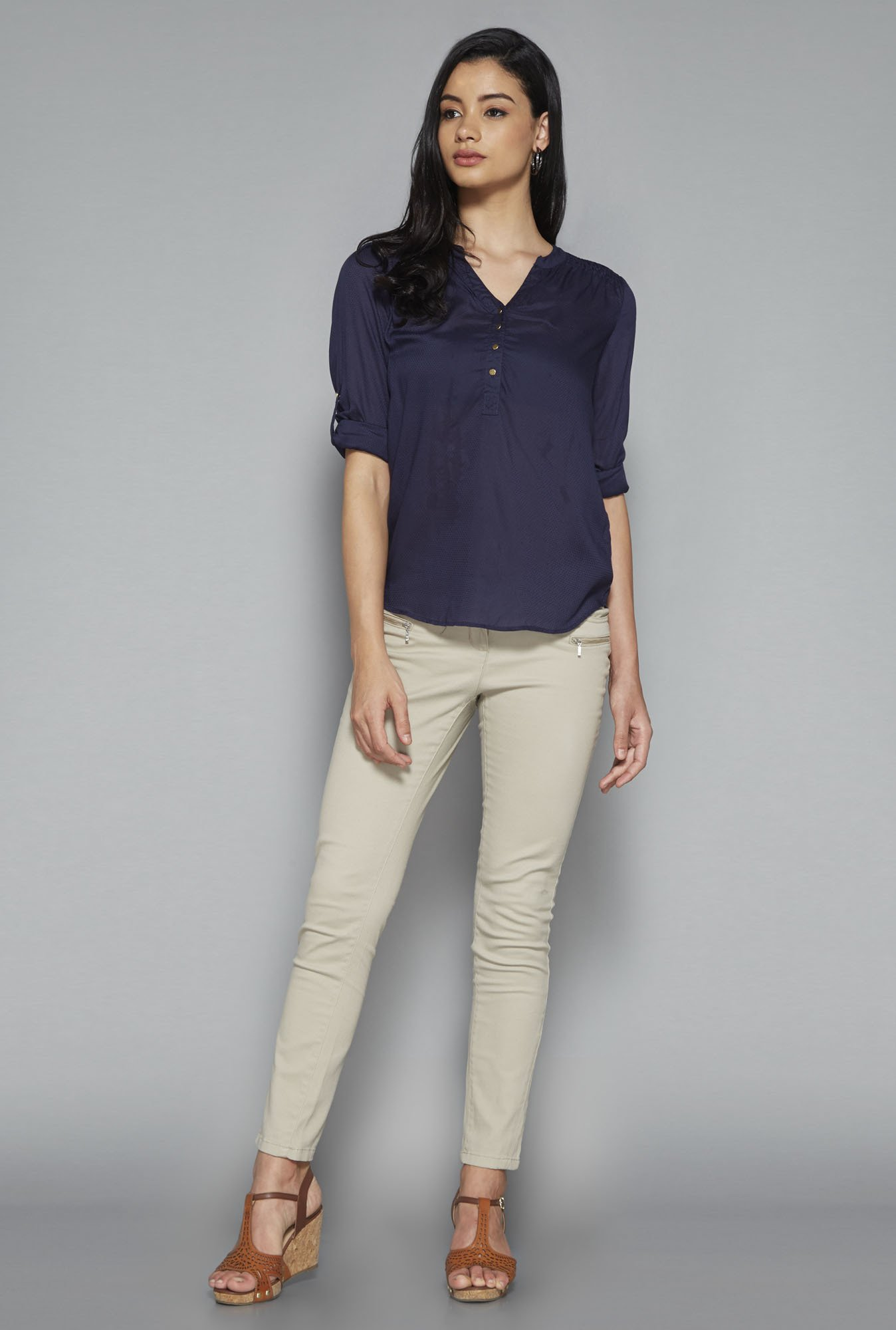 LOV by Westside Navy Self Print Seira Blouse