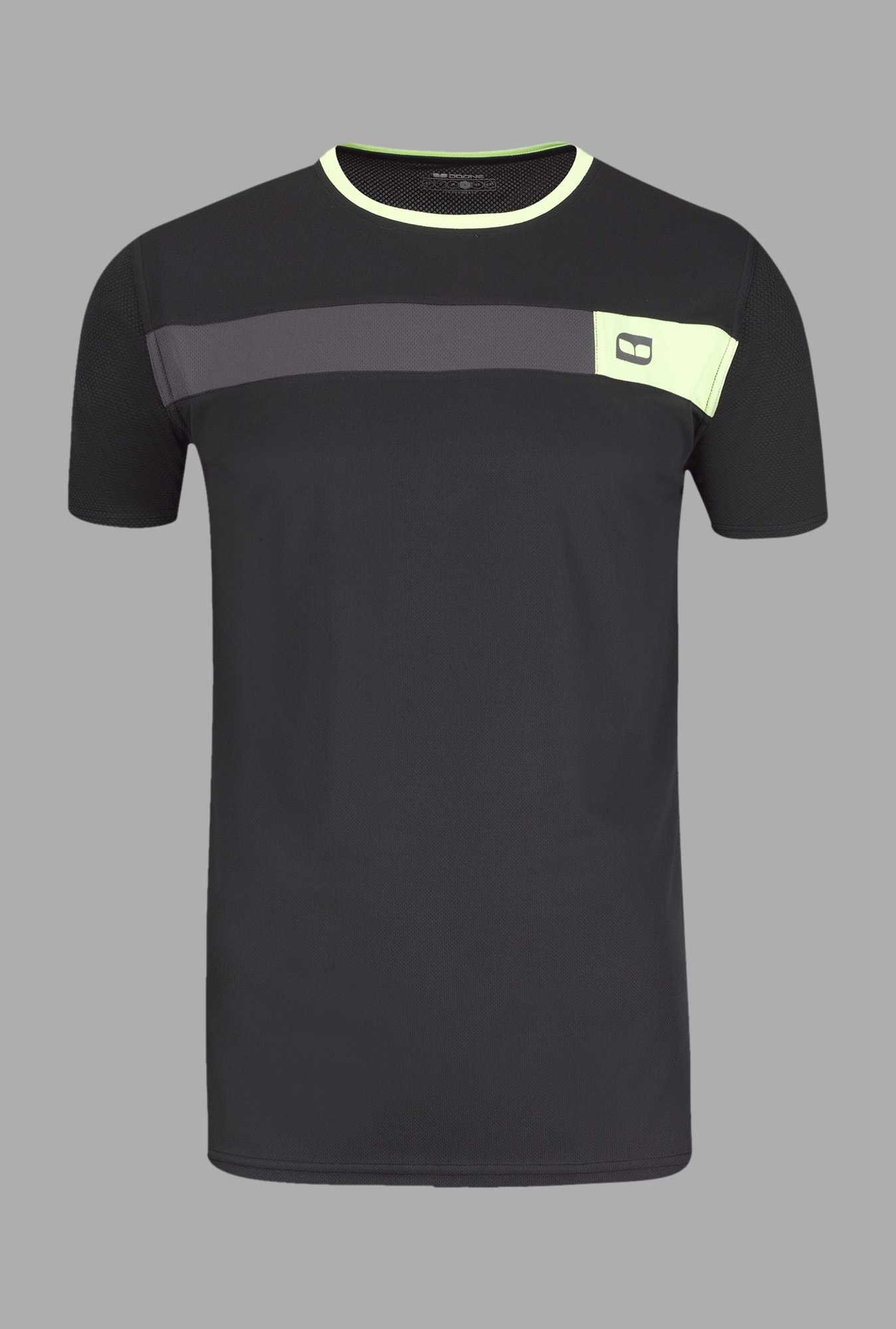 Doone Black Solid Training T Shirt