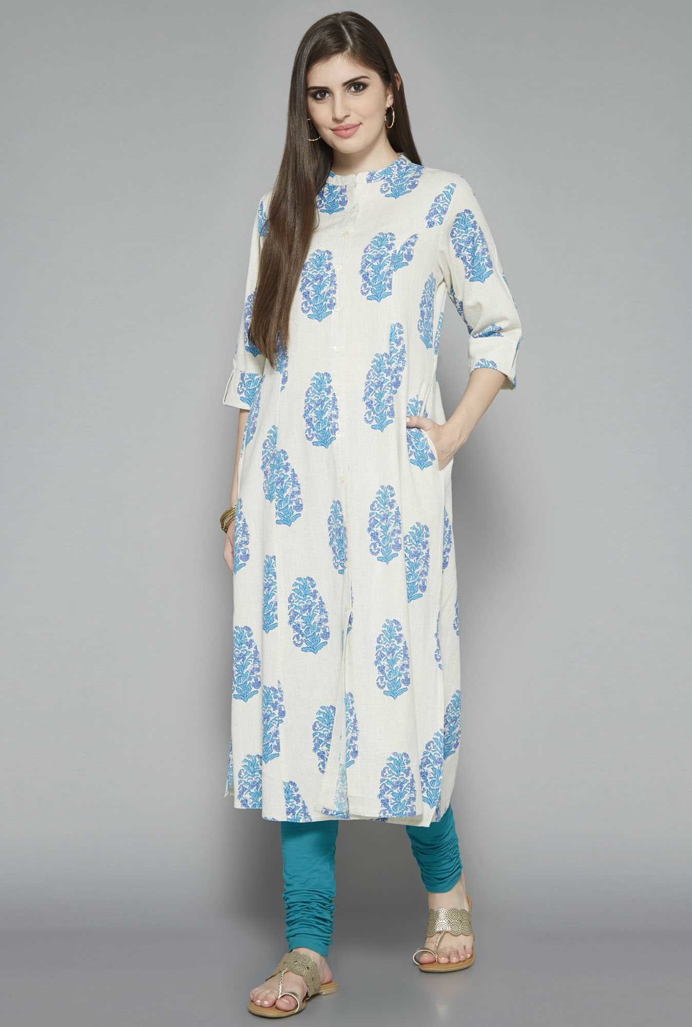 Utsa by Westside White Block Print Kurta