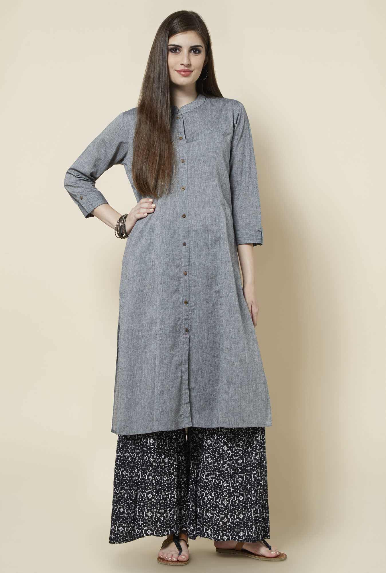 Zudio Grey Solid Kurta
