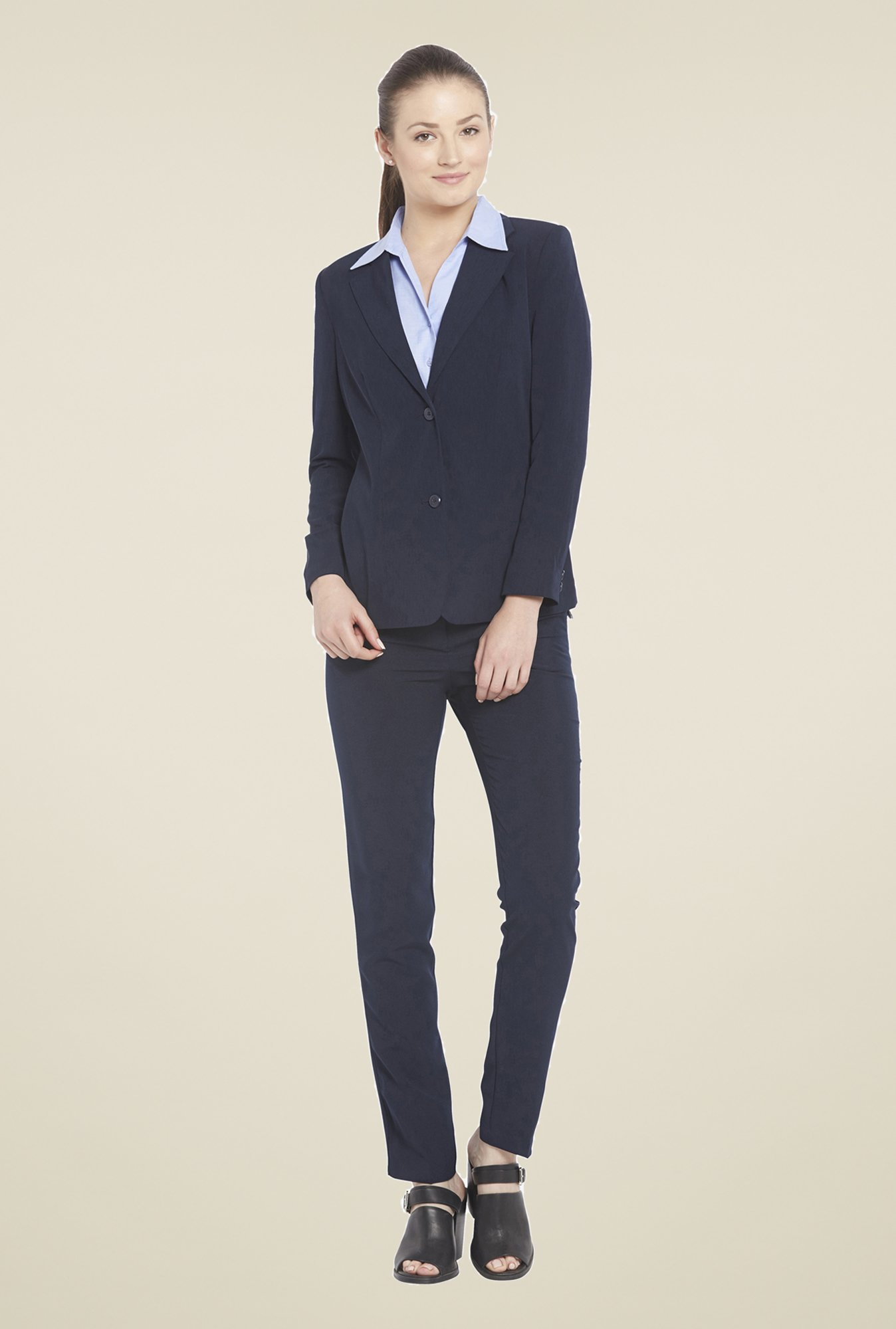 Globus Navy Solid Cotton Blazer