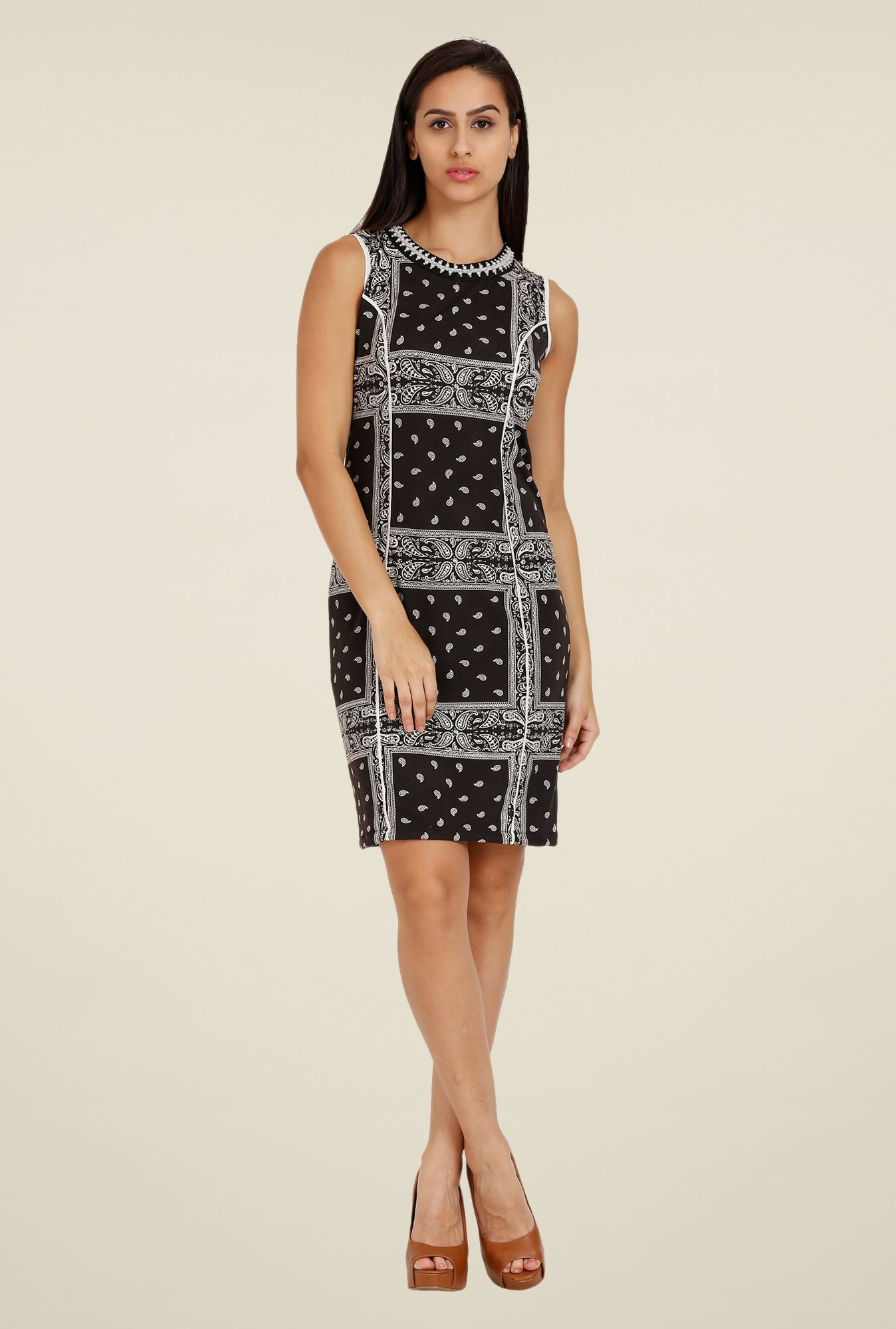 Forever Fashion Black Printed Dress