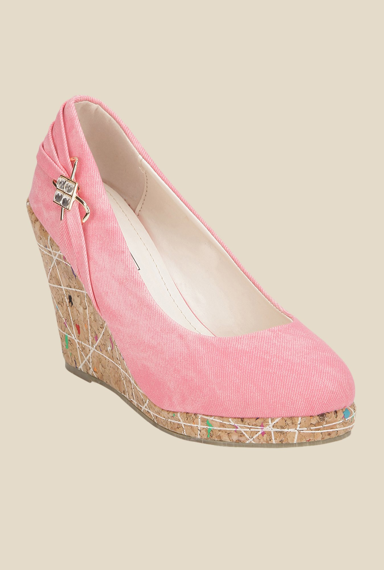 Yepme Pink & Brown Wedge Heeled Pumps